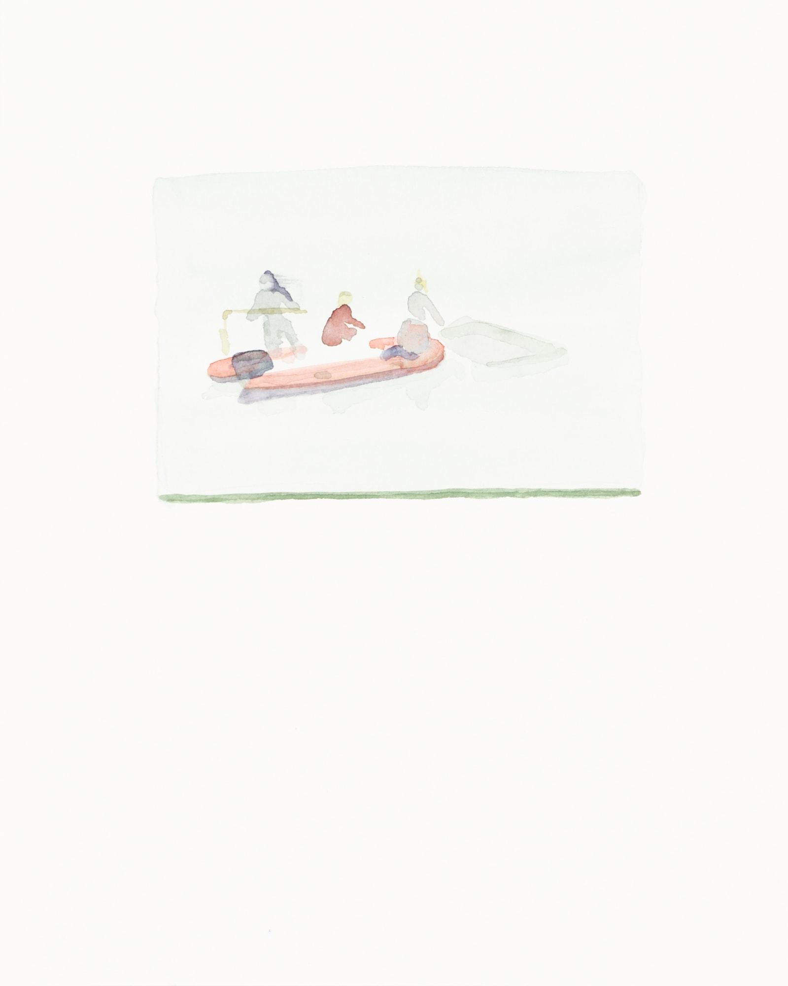 Zeichnung, Aquarell auf Papier, 24x30cm, Schlauchboot mit Personen, Künstlerin: Franziska King