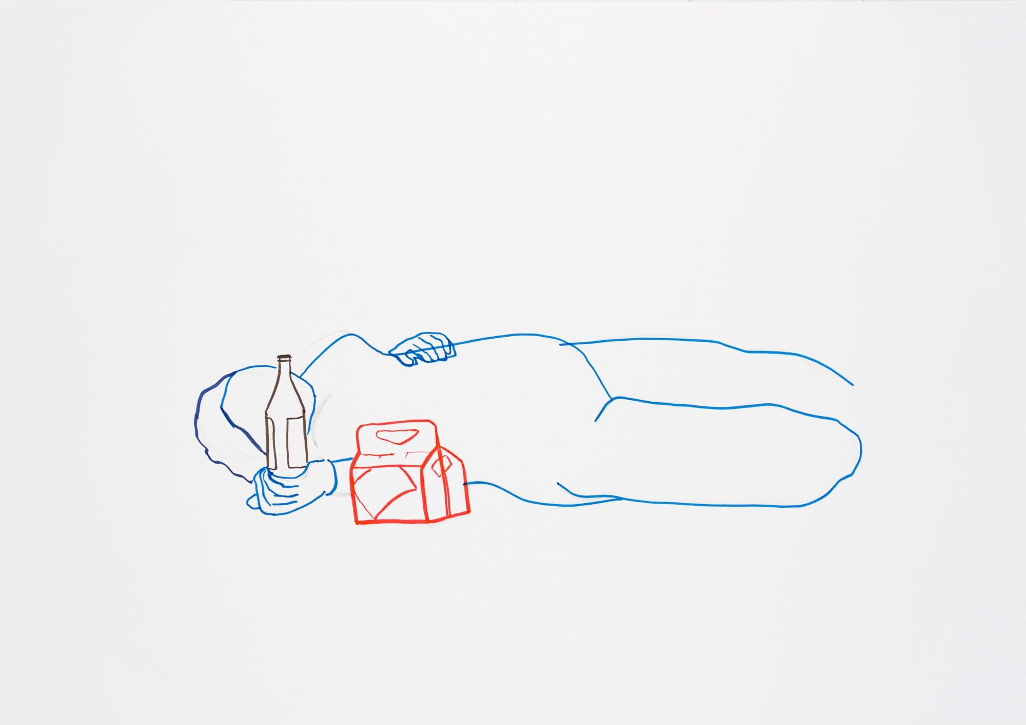 Zeichnung, Acrylmarker auf Papier, 59,4x42cm, Frauenakt, Künstlerin: Franziska King