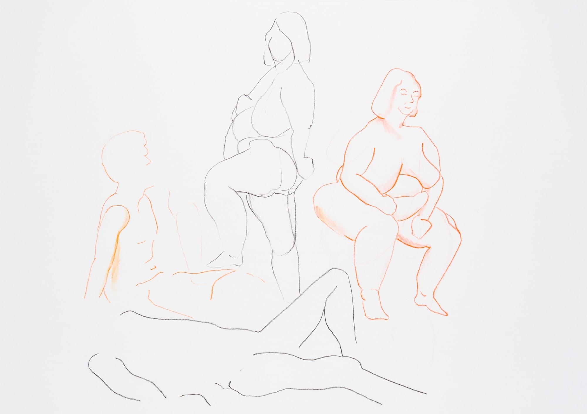 Zeichnung, Farbstift auf Papier, 59,4x42cm, Frauenakte, Künstlerin: Franziska King