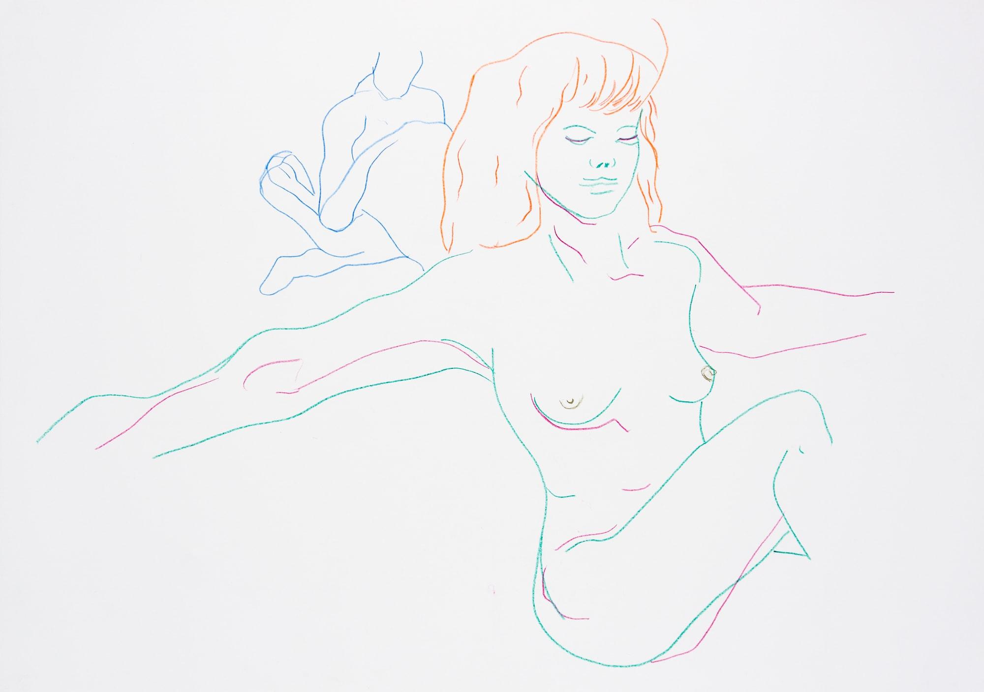 Zeichnung, Farbstift auf Papier, 59,4x42cm, Frauenakt, Künstlerin: Franziska King