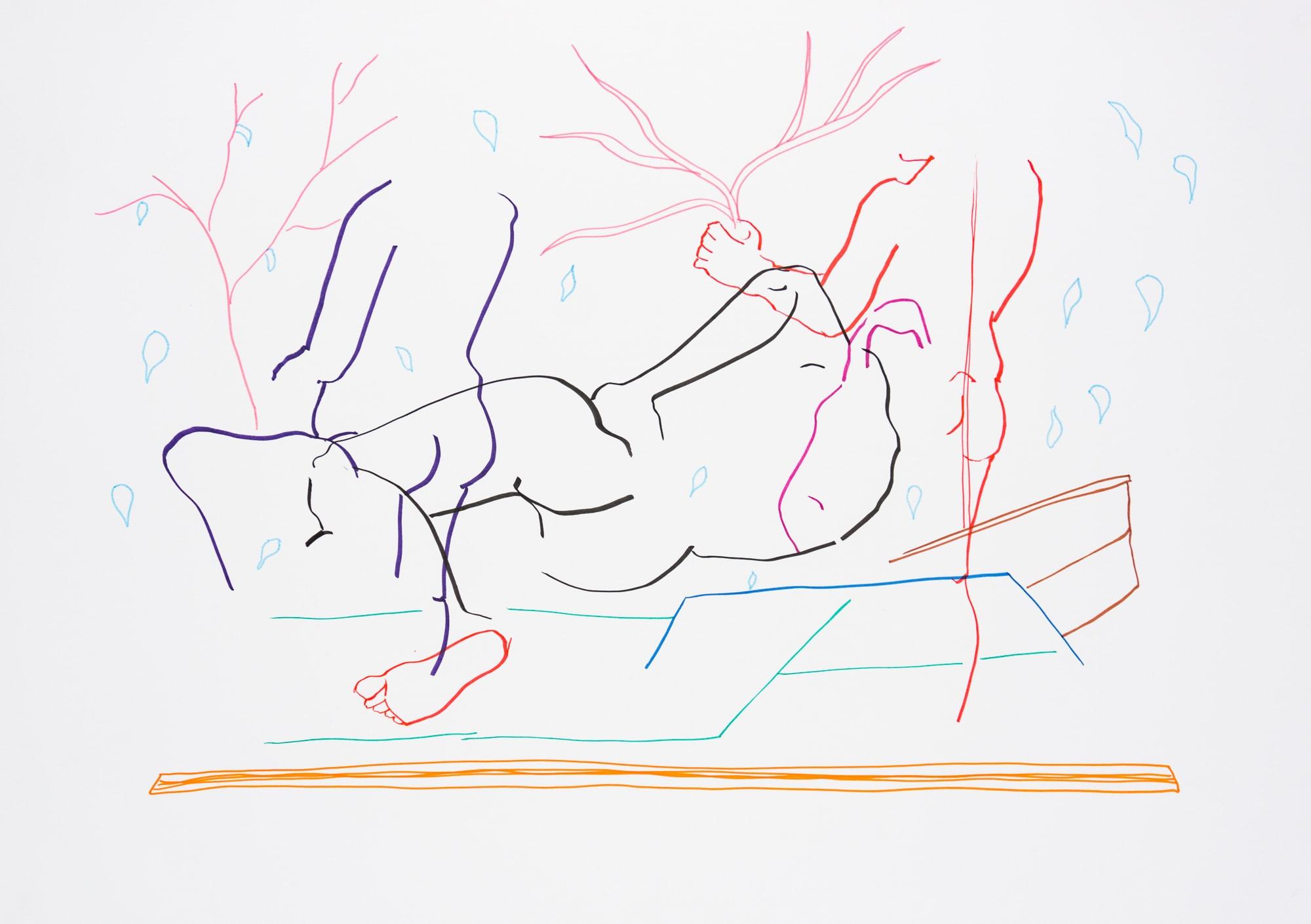 Zeichnung, Tuschemarker auf Papier, 59,4x42cm, Männerakt, Künstlerin: Franziska King