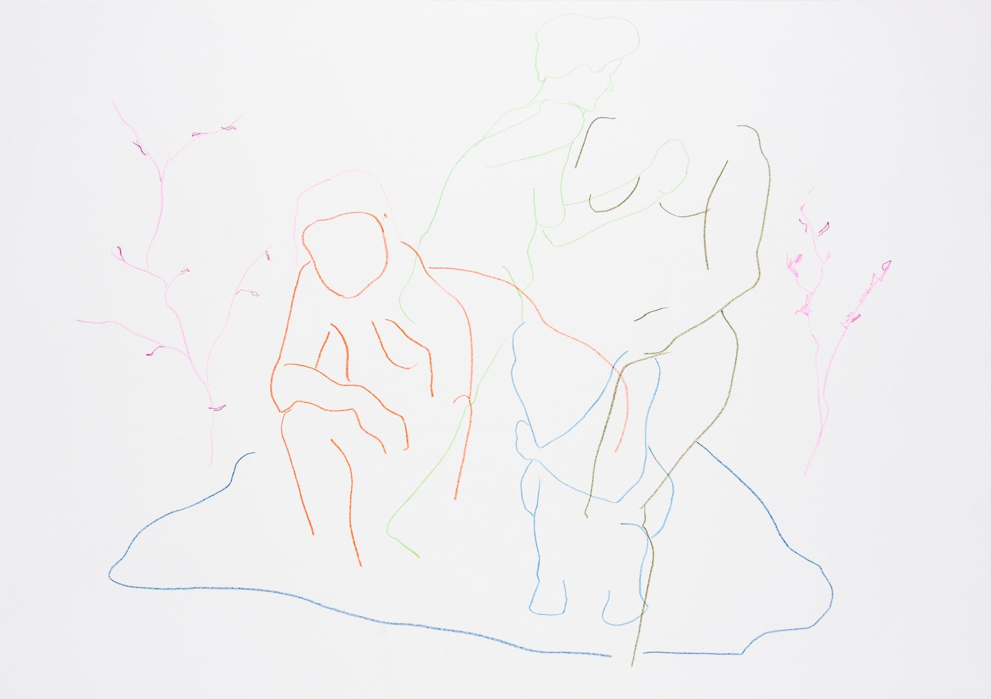 Zeichnung, Farbstift auf Papier, 59,4x42cm, Akt, Künstlerin: Franziska King