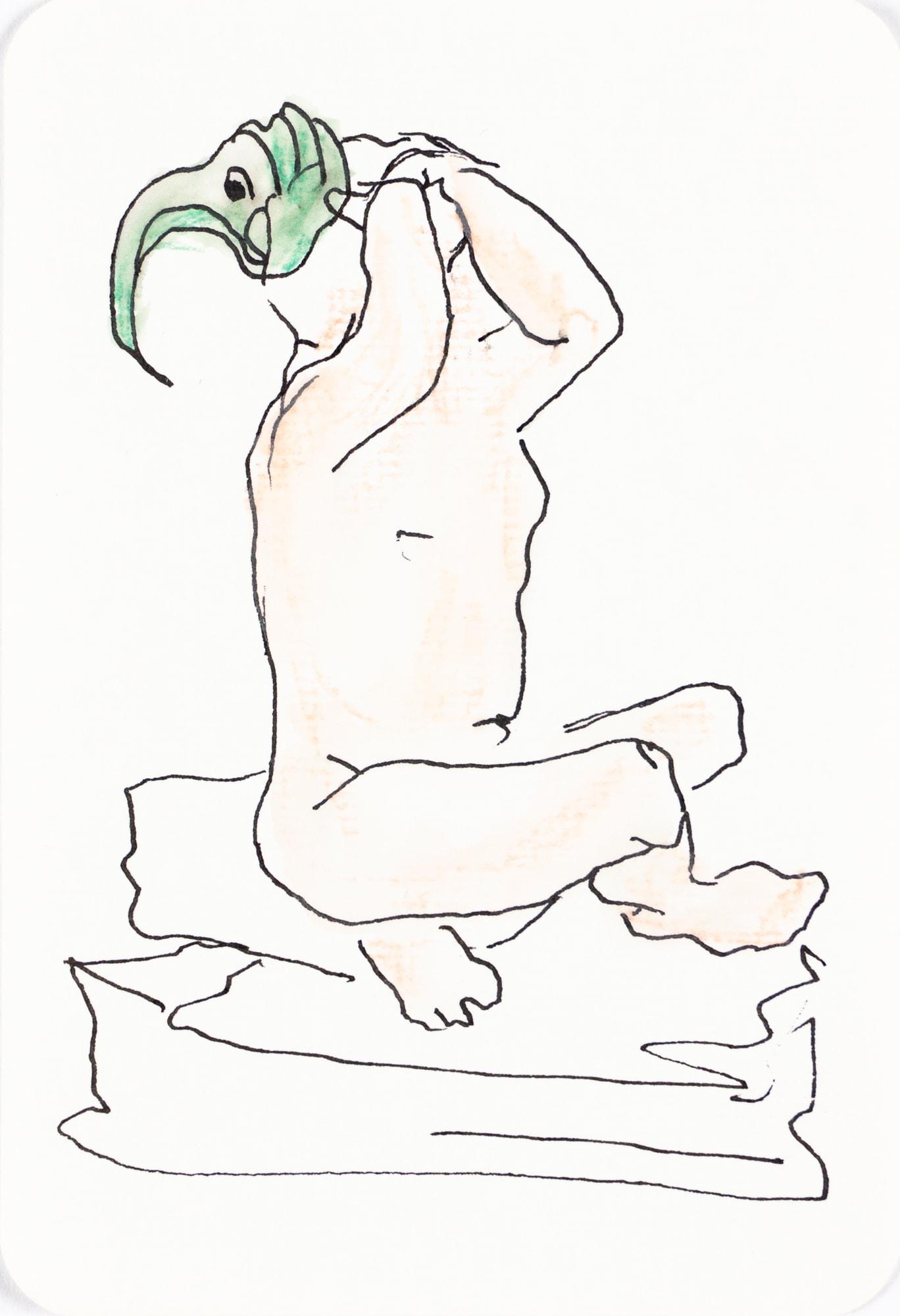 Zeichnung, Aquarell, Farbstift und Tusche auf Postkarte, 10,4x15,3cm, Akt, Künstlerin: Franziska King