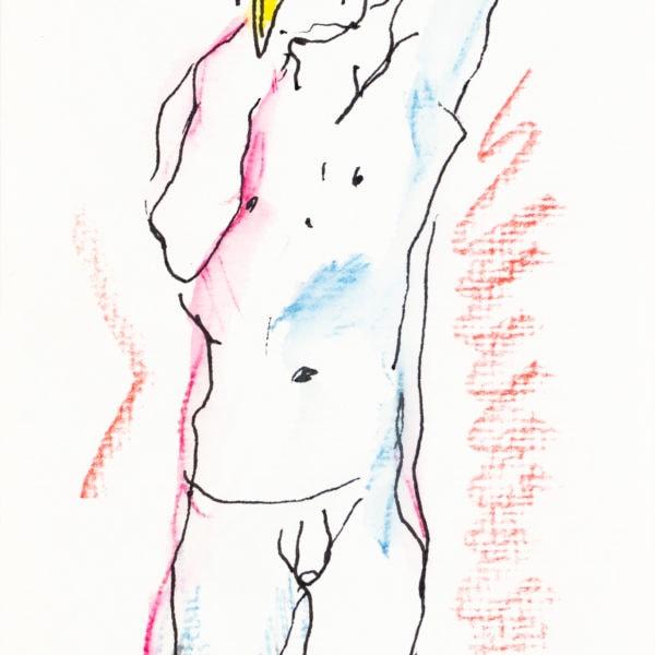 Zeichnung, Tusche und Farbstift auf Papier, 10,4cm x 15,3cm, Akt, artist: Franziska King