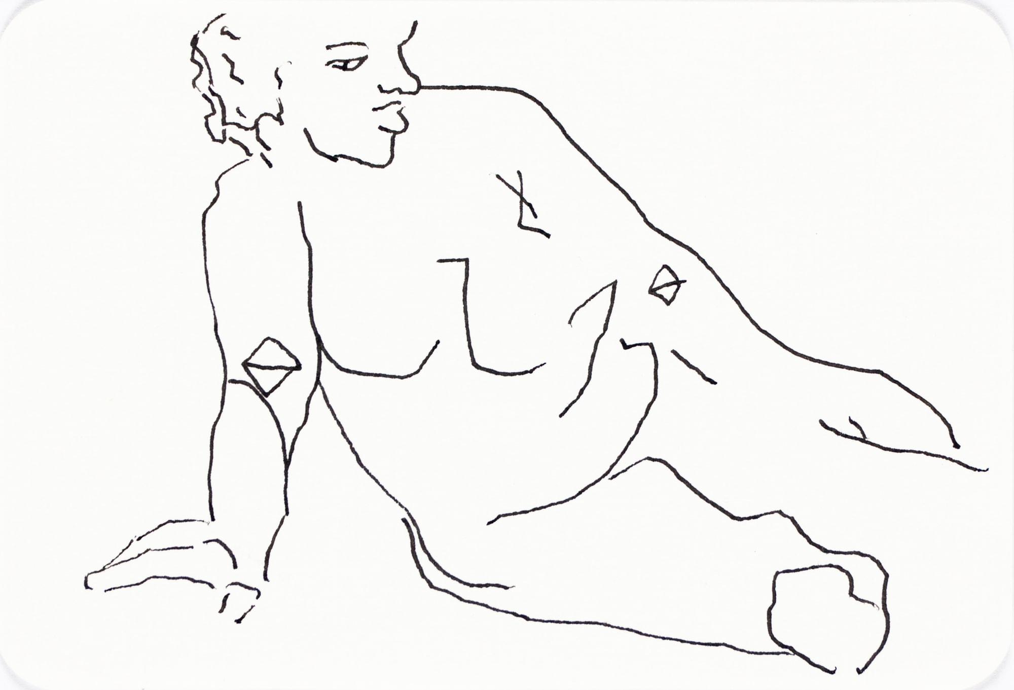 Zeichnung, Tusche auf Postkarte, 15,3x10,4cm, Akt, Künstlerin: Franziska King