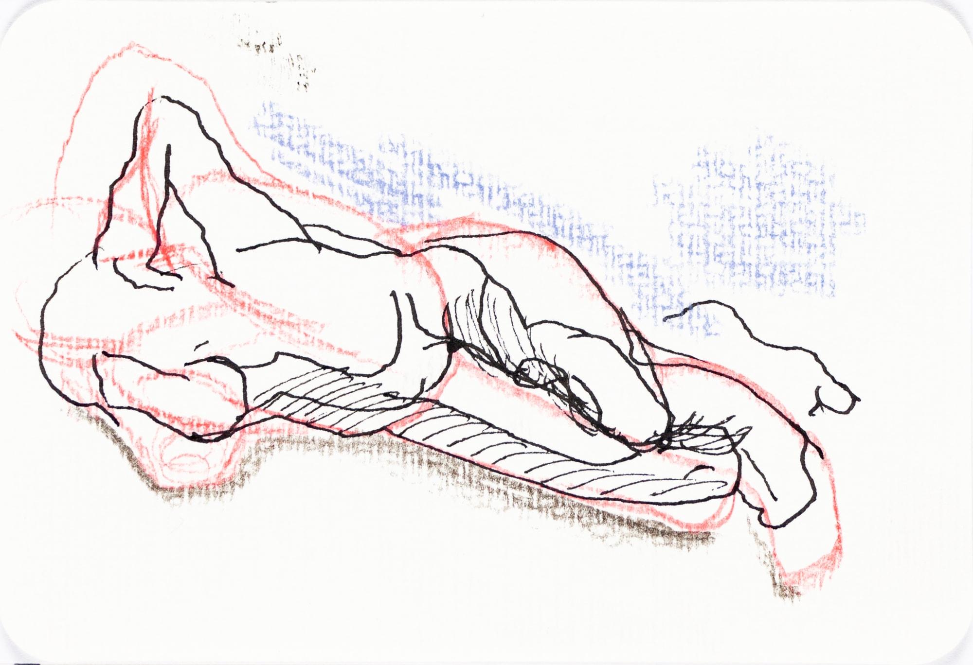 Zeichnung, Farbstift und Tusche auf Postkarte, 15,3x10,4cm, Akt, Künstlerin: Franziska King