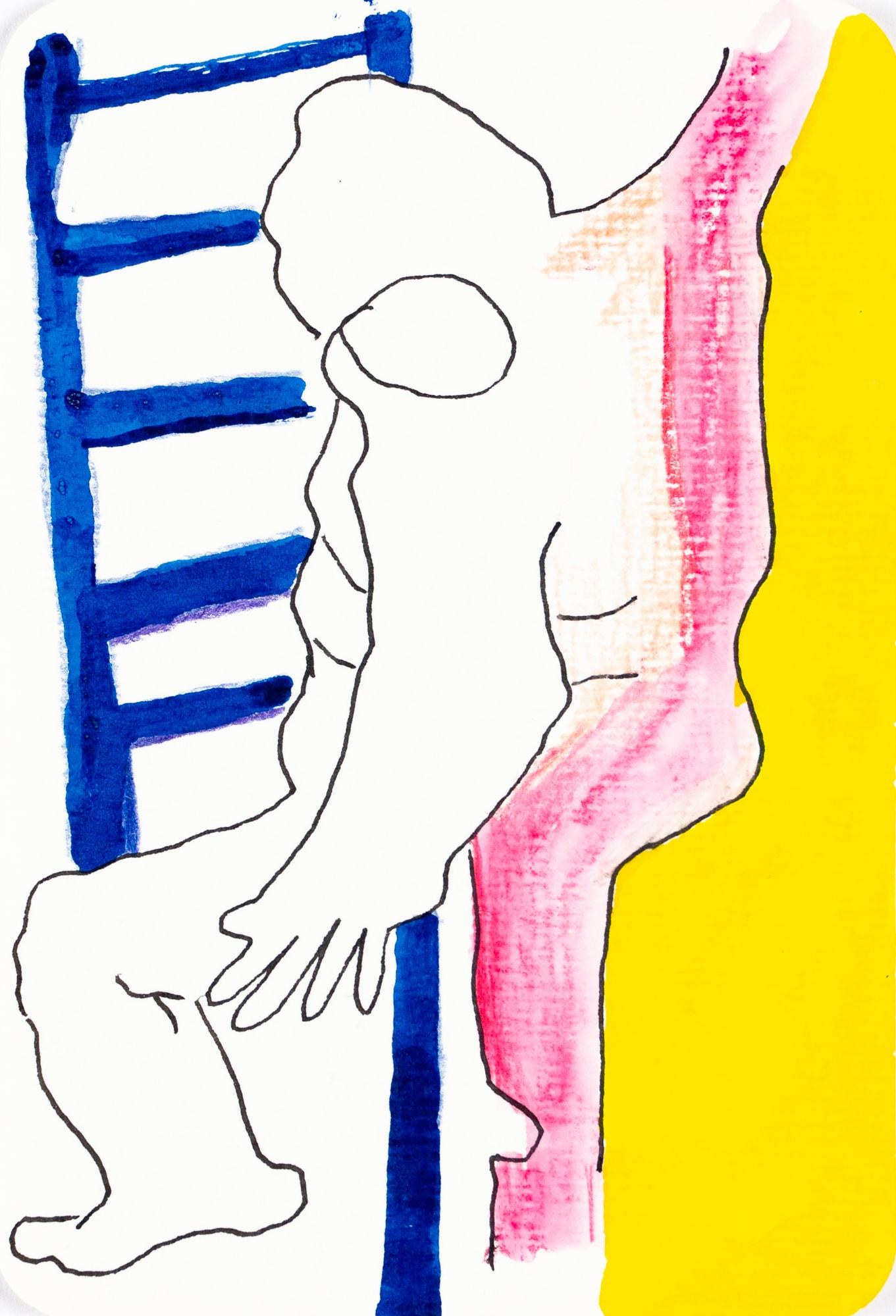 Zeichnung, Farbstift und Tusche auf Papier, 10,4x15,3cm, Akt, Künstlerin: Franziska King