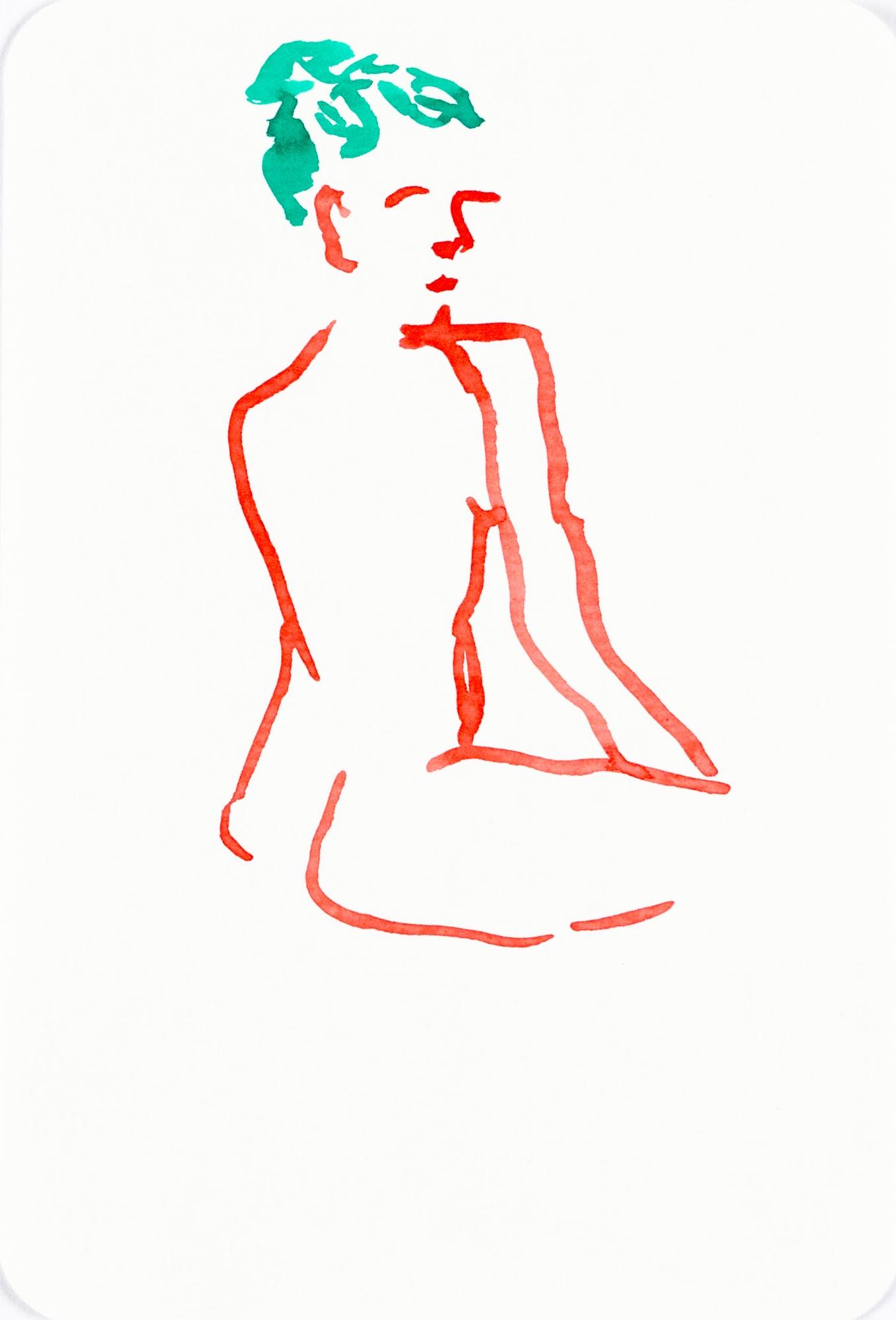 Zeichnung, Tusche auf Postkarte, 10,4x15,3cm, Frauenakt, Künstlerin: Franziska King