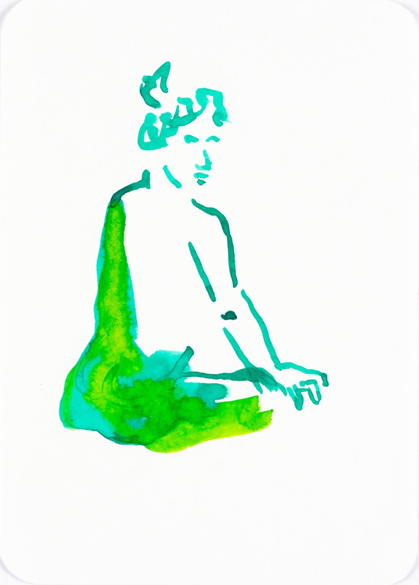 ZeichnungTusche auf Papier, 10,5x14,8cm, Akt, Künstlerin: Franziska King