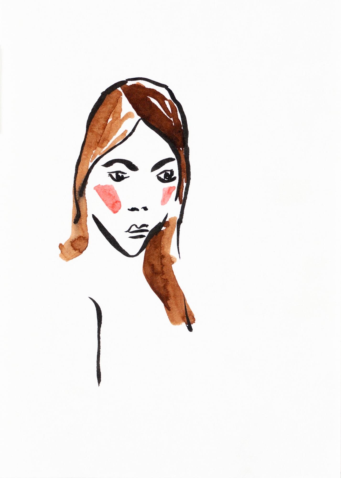 Zeichnung, Tusche auf Postkarte, 10,5x14,8cm, Frauenakt, Künstlerin: Franziska King