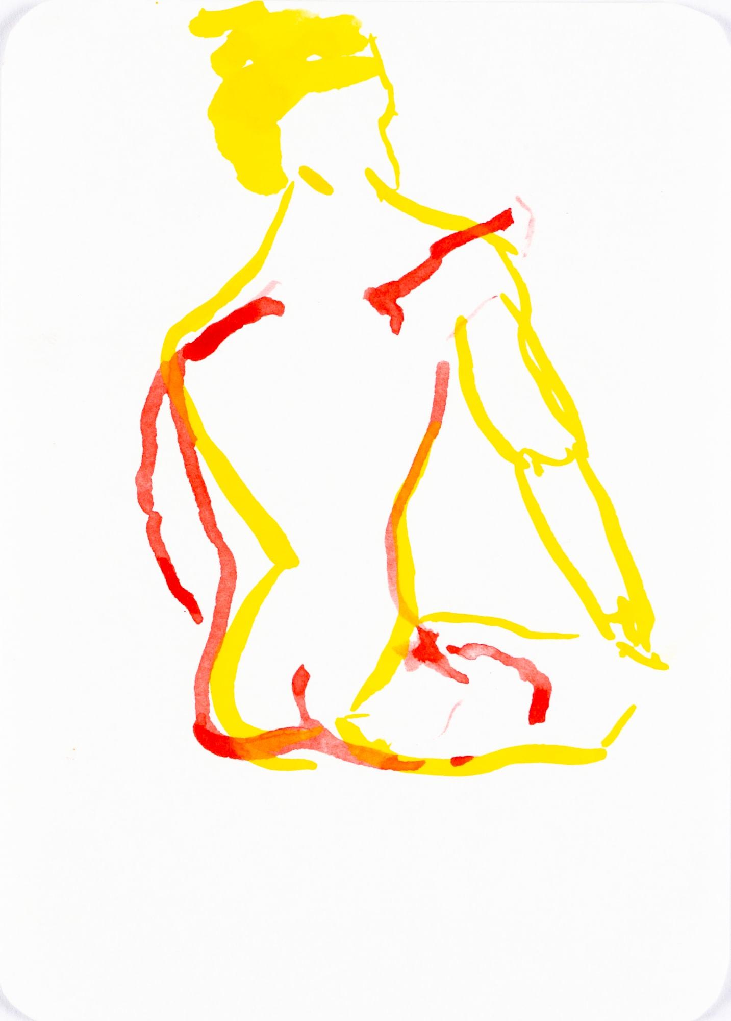 Zeichnung, Tusche auf Papier, 10,5x14,8cm, Akt, Künstlerin: Franziska King