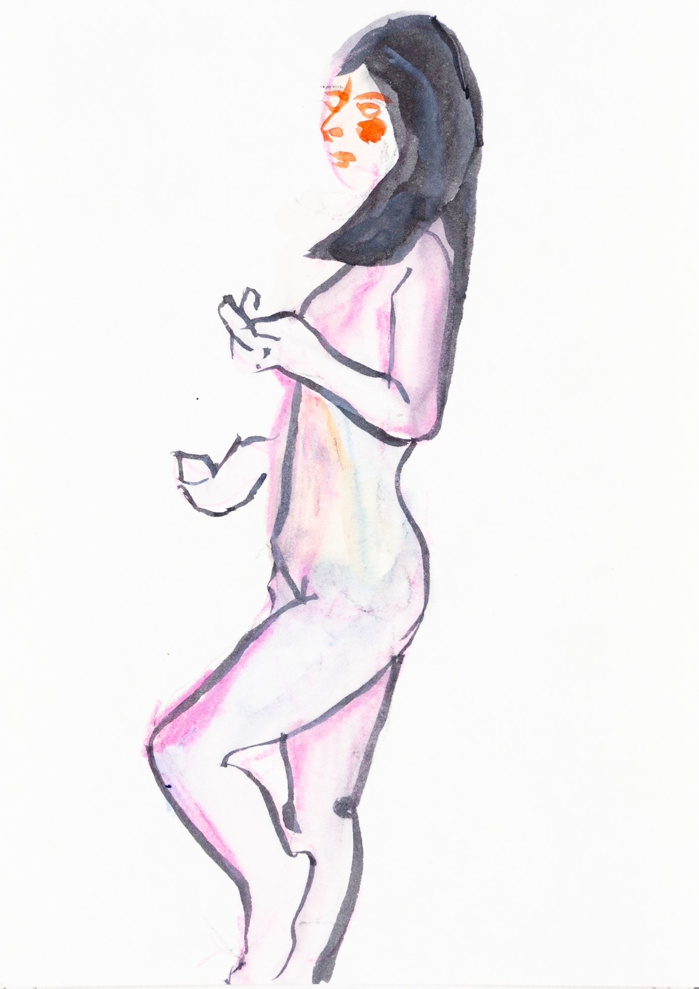 Zeichnung, Aquarell und Tusche auf Postkarte, 10,5x14,8cm, Frauenakt, Künstlerin: Franziska King