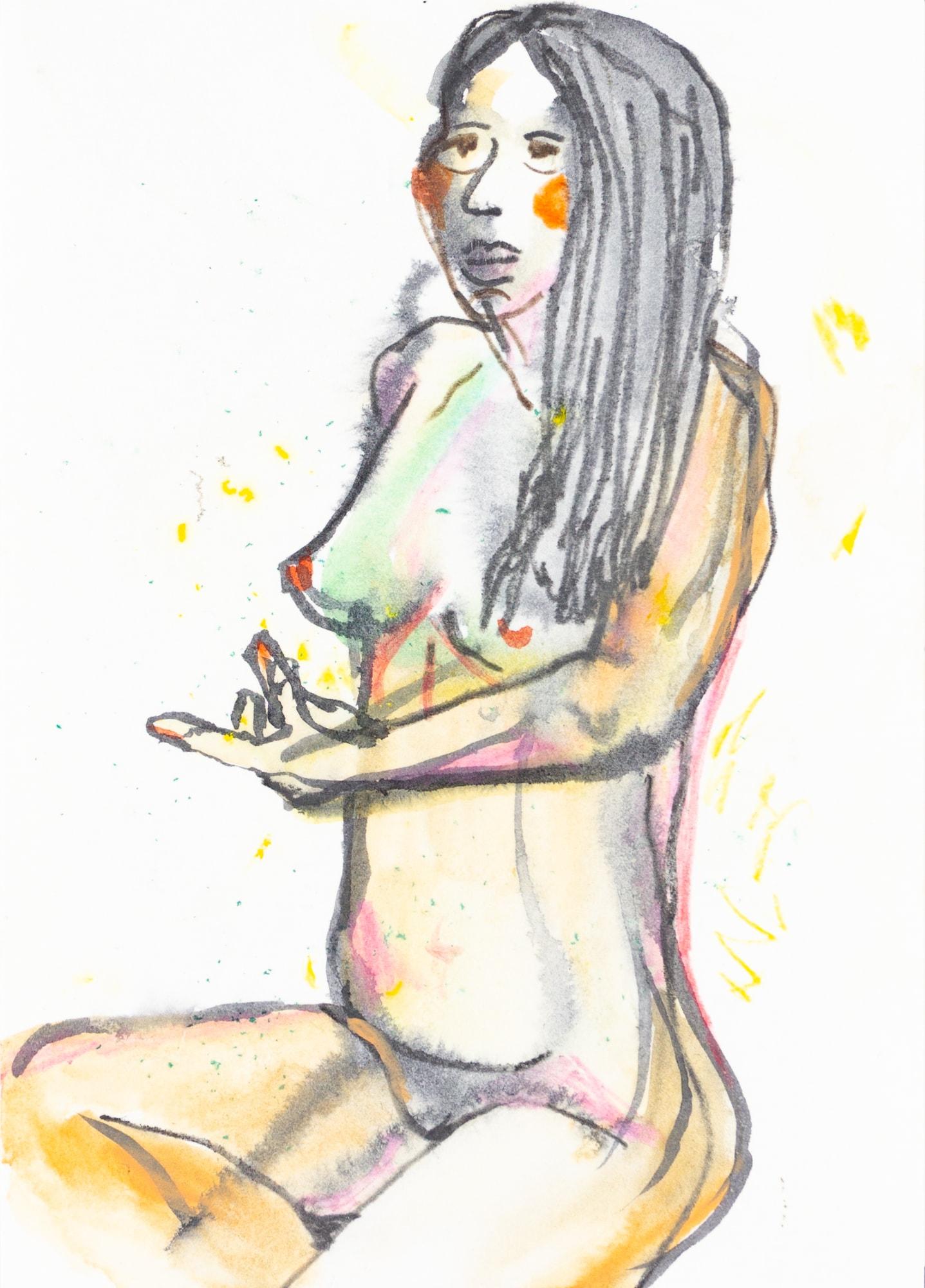 Zeichnung, Aquarell, Farbstift und Tusche auf Postkarte, 10,5x14,8cm, Frauenakt, Künstlerin: Franziska King