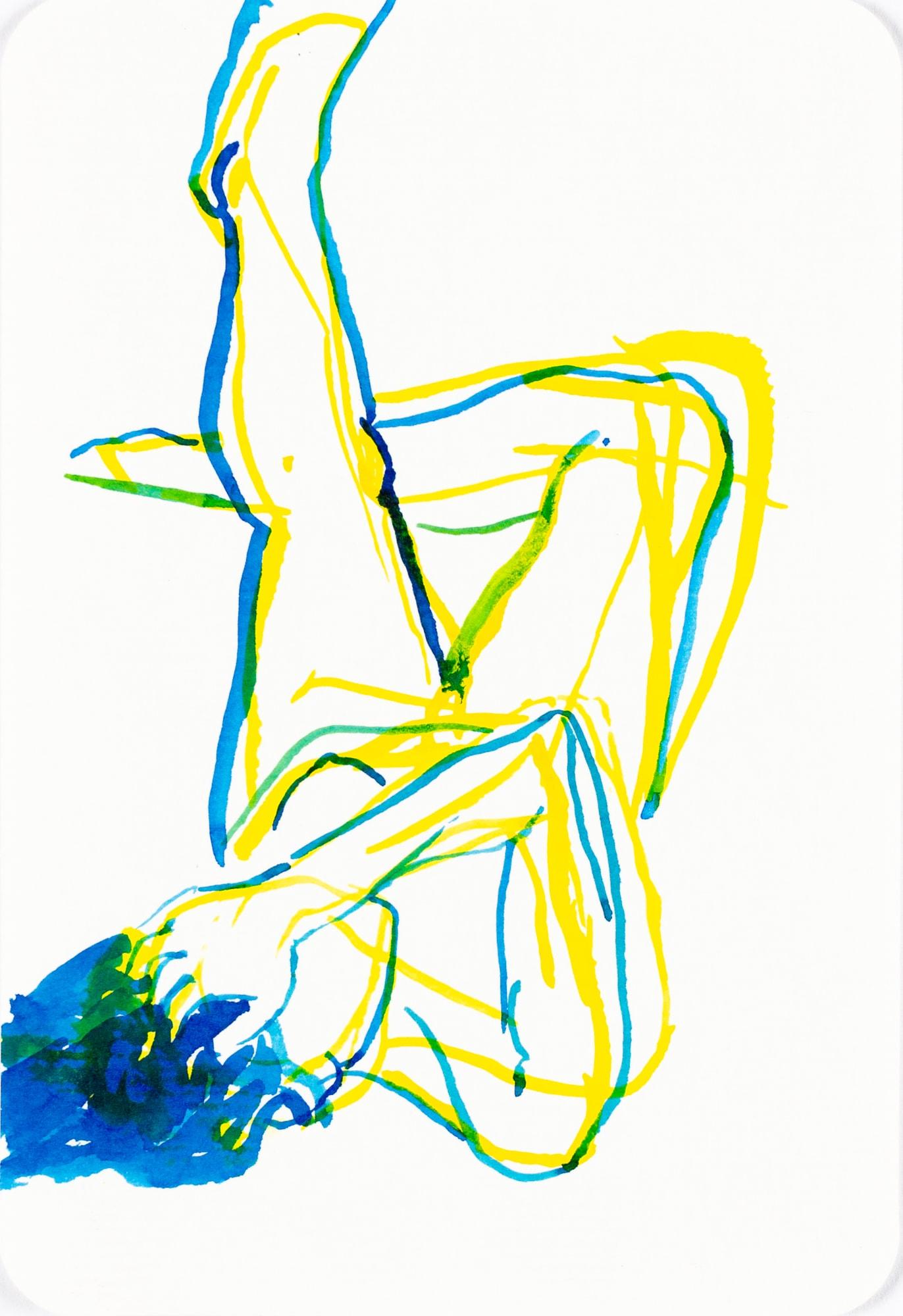 Zeichnung, Tusche auf Postkarte, 10,4x15,3cm,Akt, Künstlerin: Franziska King