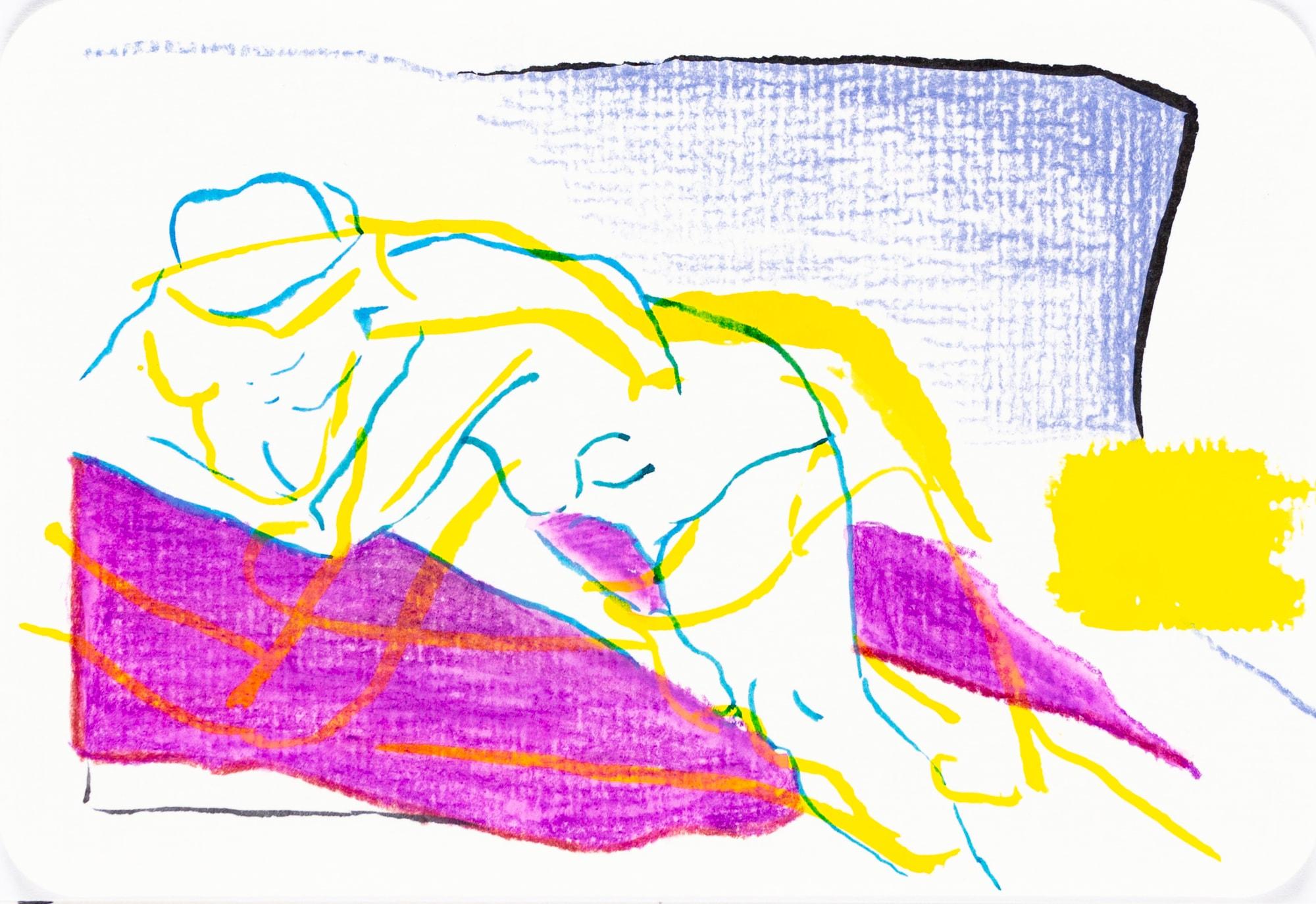 Zeichnung, Farbstift und Tusche auf Postkarte, 15,3x10,4cm, Frauenakt, Künstlerin: Franziska King