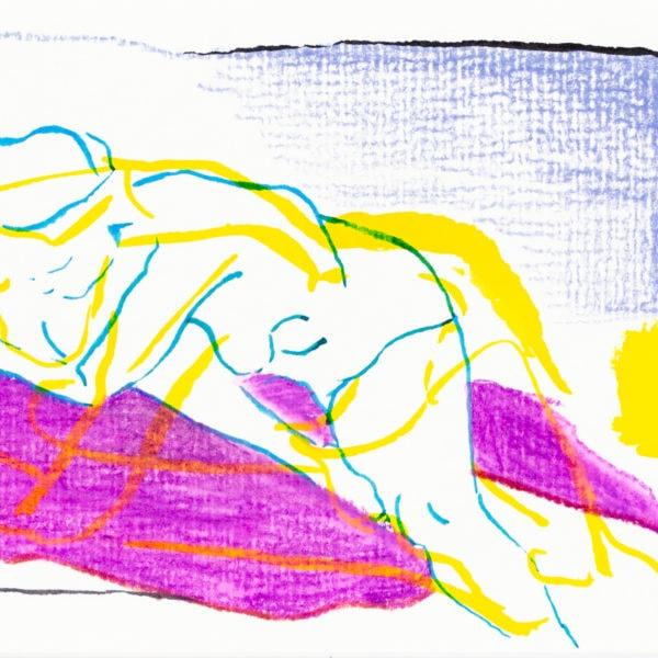 Zeichnung, Tusche und Farbstift auf Papier, 15,3cm x 10,4cm, Akt, artist: Franziska King
