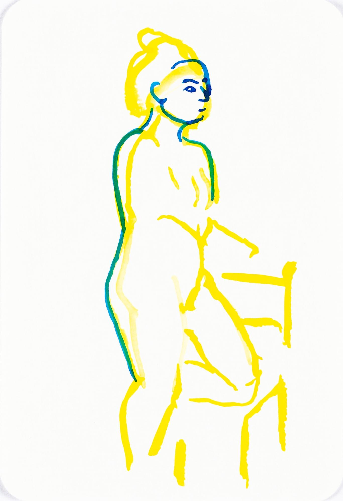 Zeichnung, Tusche auf Papier, 10,4cm x 15,3cm, Akt, artist: Franziska King