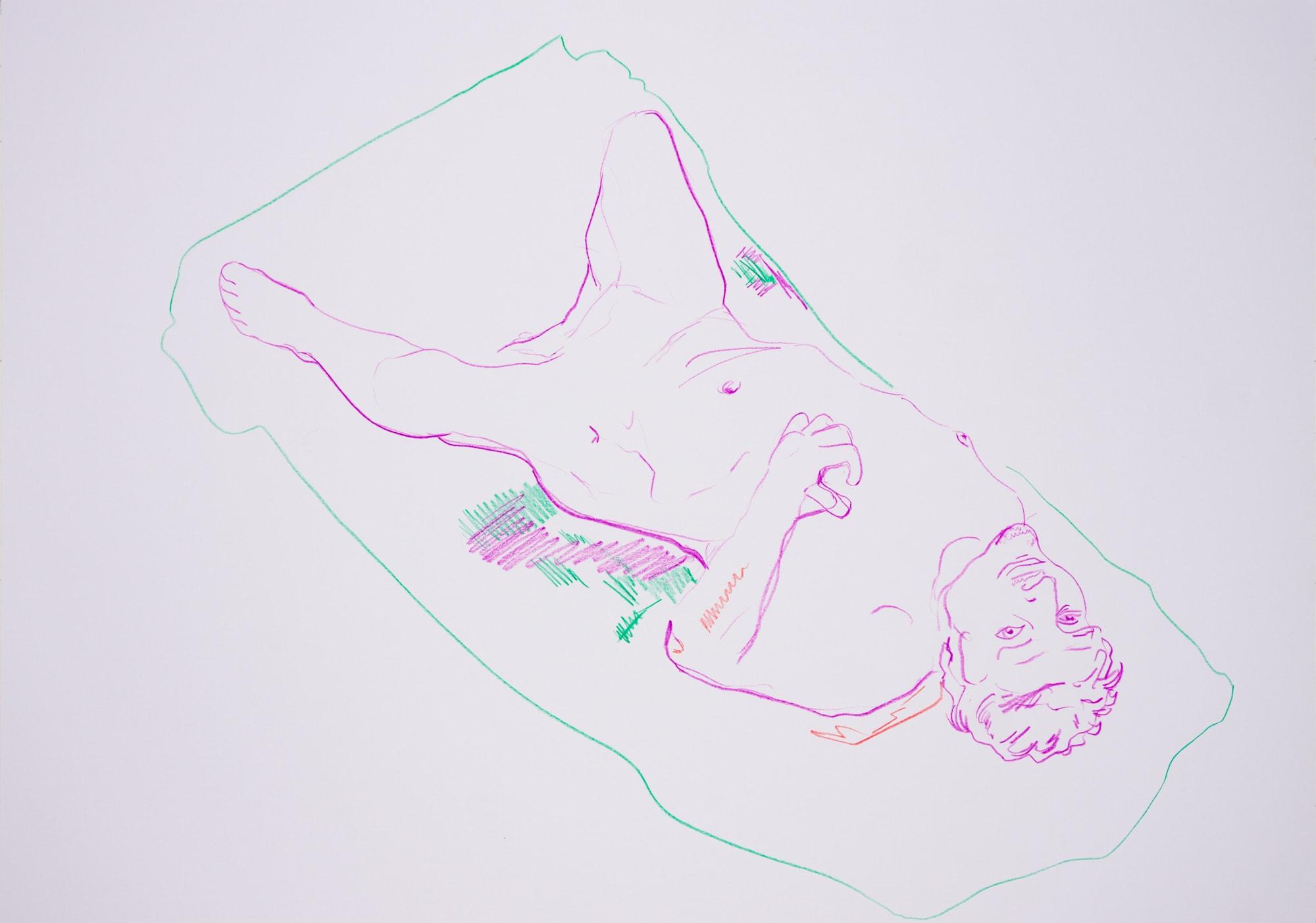 Zeichnung, Farbstift auf Papier, 59,4x42cm, Männerakt, Künstlerin: Franziska King