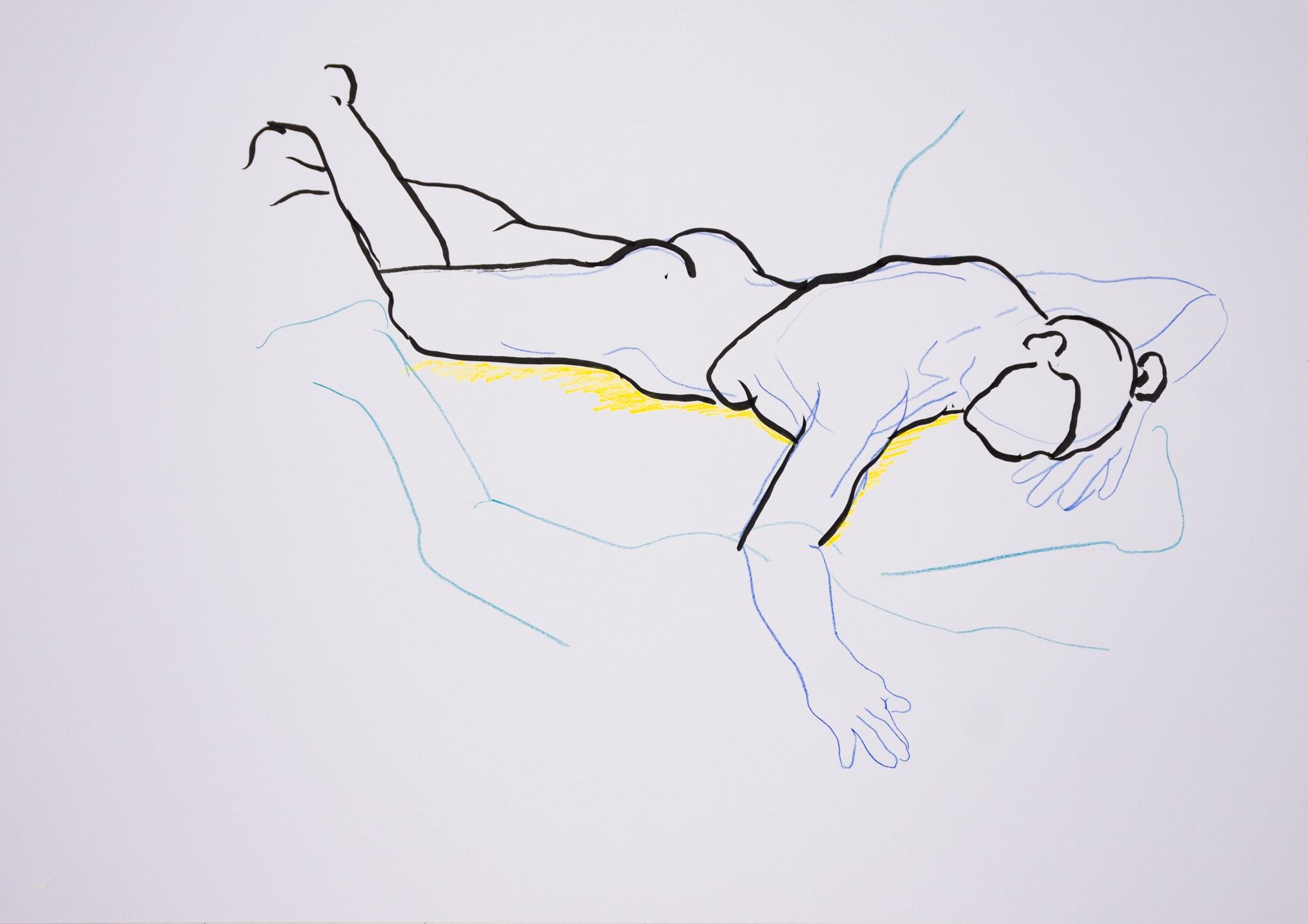 Zeichnung, Farbstift und Tusche auf Papier, 59,4x420cm, Frauenakt, Künstlerin: Franziska King