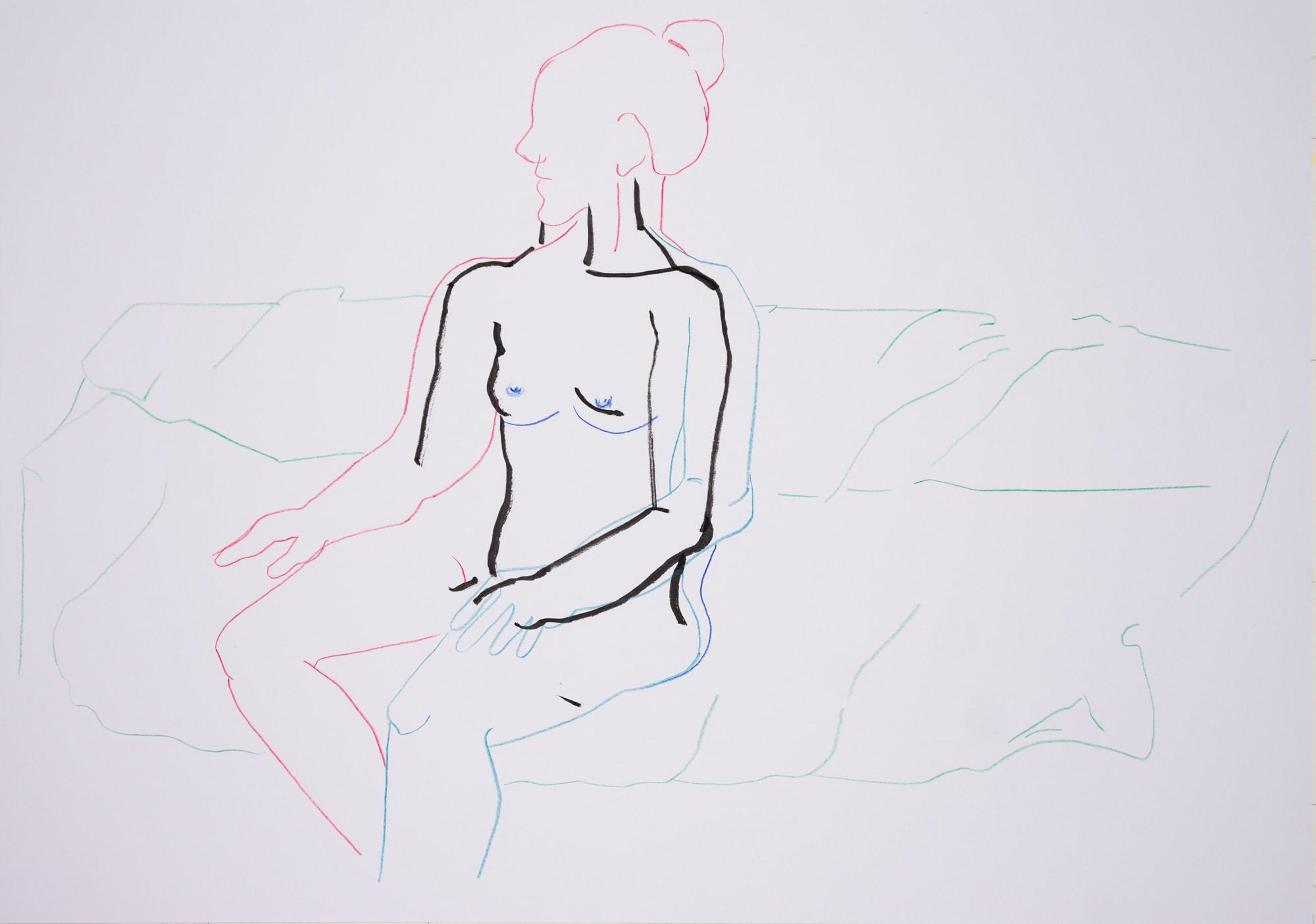 Zeichnung, Farbstift und Tusche auf Papier, 59,4x42cm, Frauenakt, Künstlerin: Franziska King