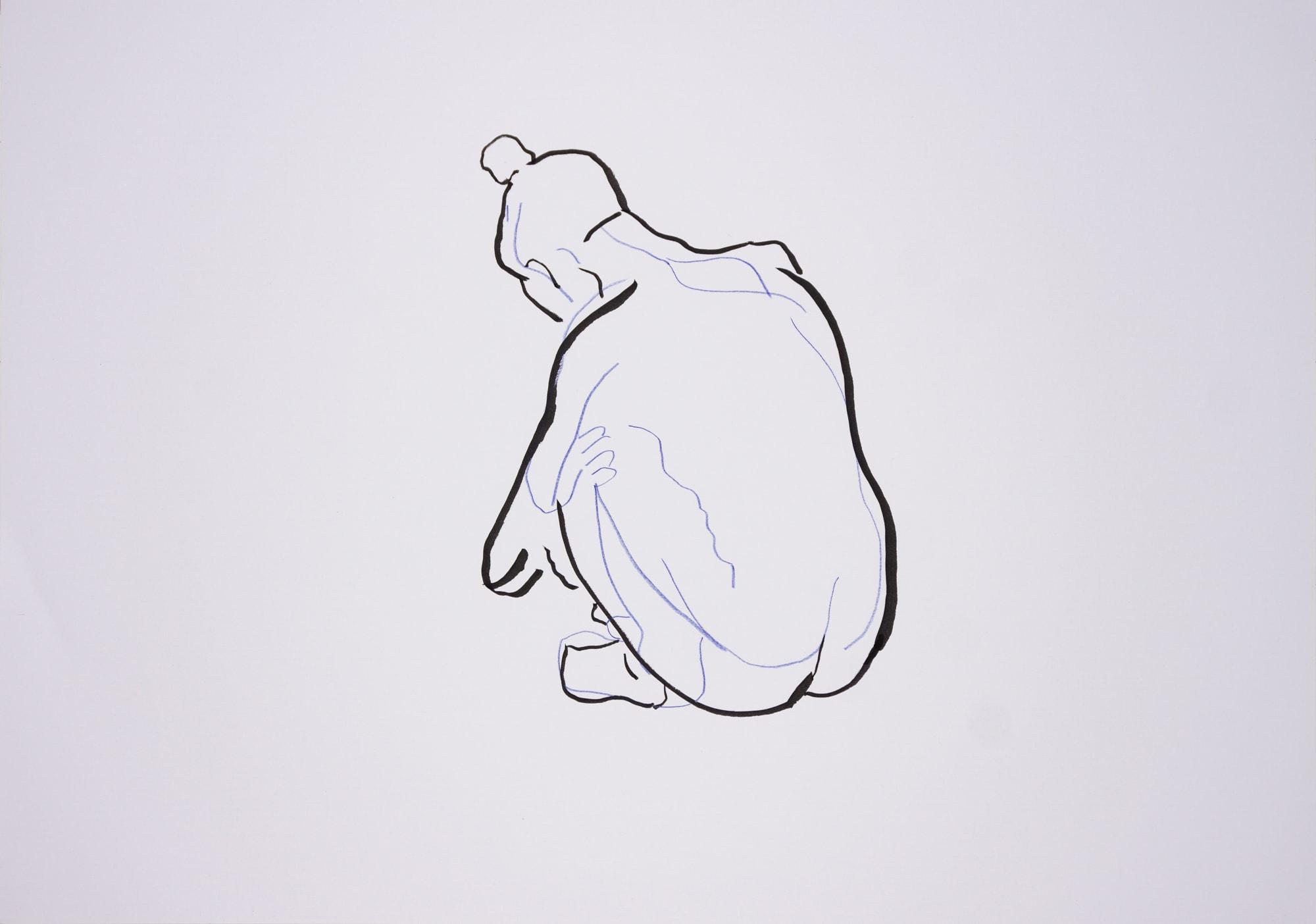 Zeichnung, Farbstift und Tusche auf Papier, 59,4x42cm, Akt, Künstlerin: Franziska King