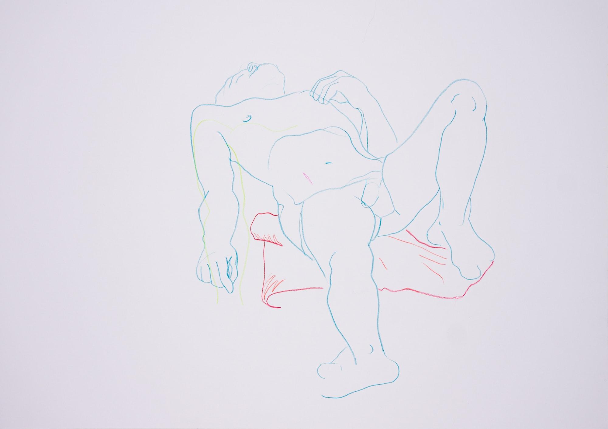 Zeichnung, Farbstift auf Papier, 59,4x42cm,Männerakt, Künstlerin: Franziska King