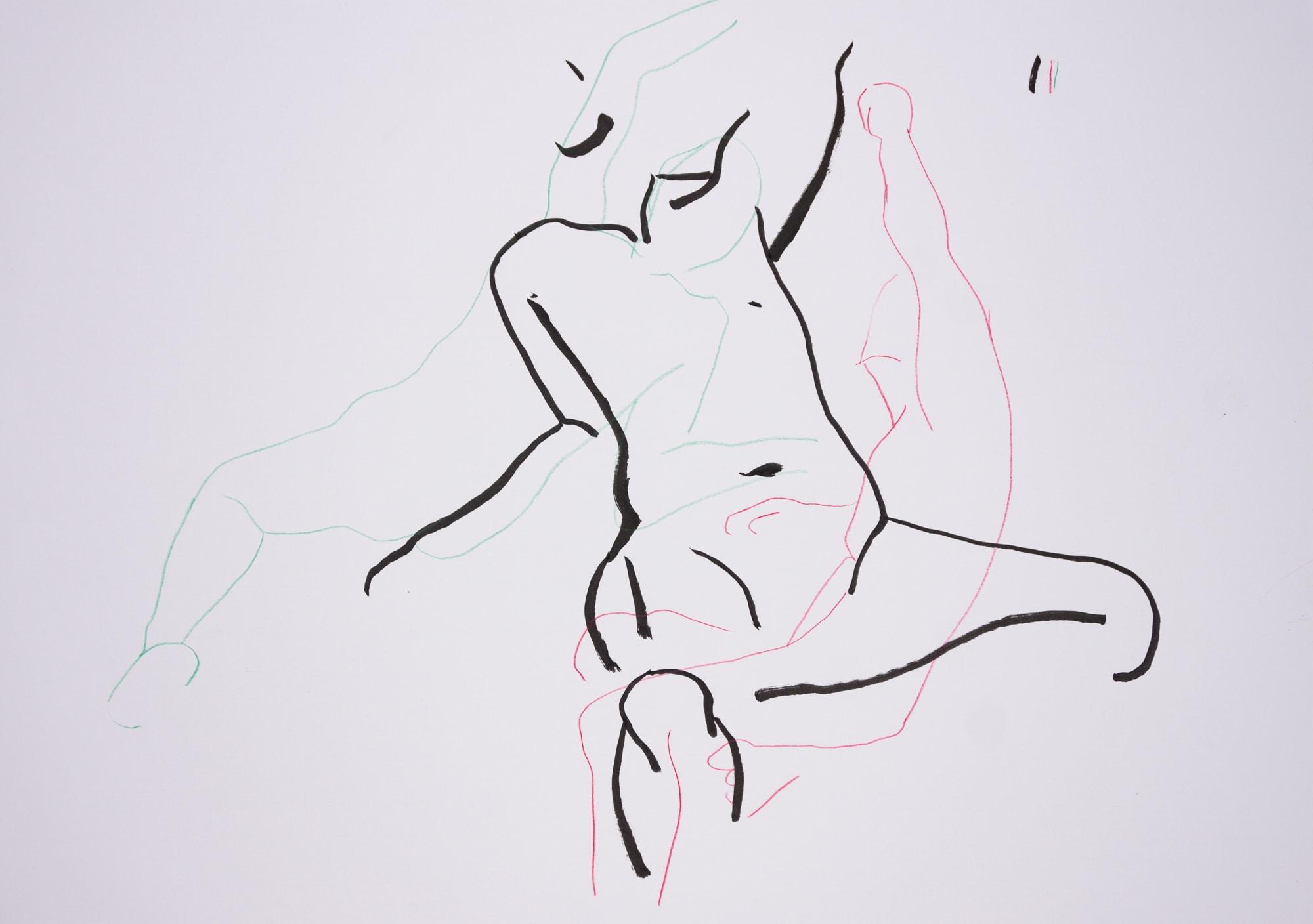 Zeichnung, Farbstift und Tusche auf Papier, 59,4x42cm, Männerakt?, Künstlerin: Franziska King
