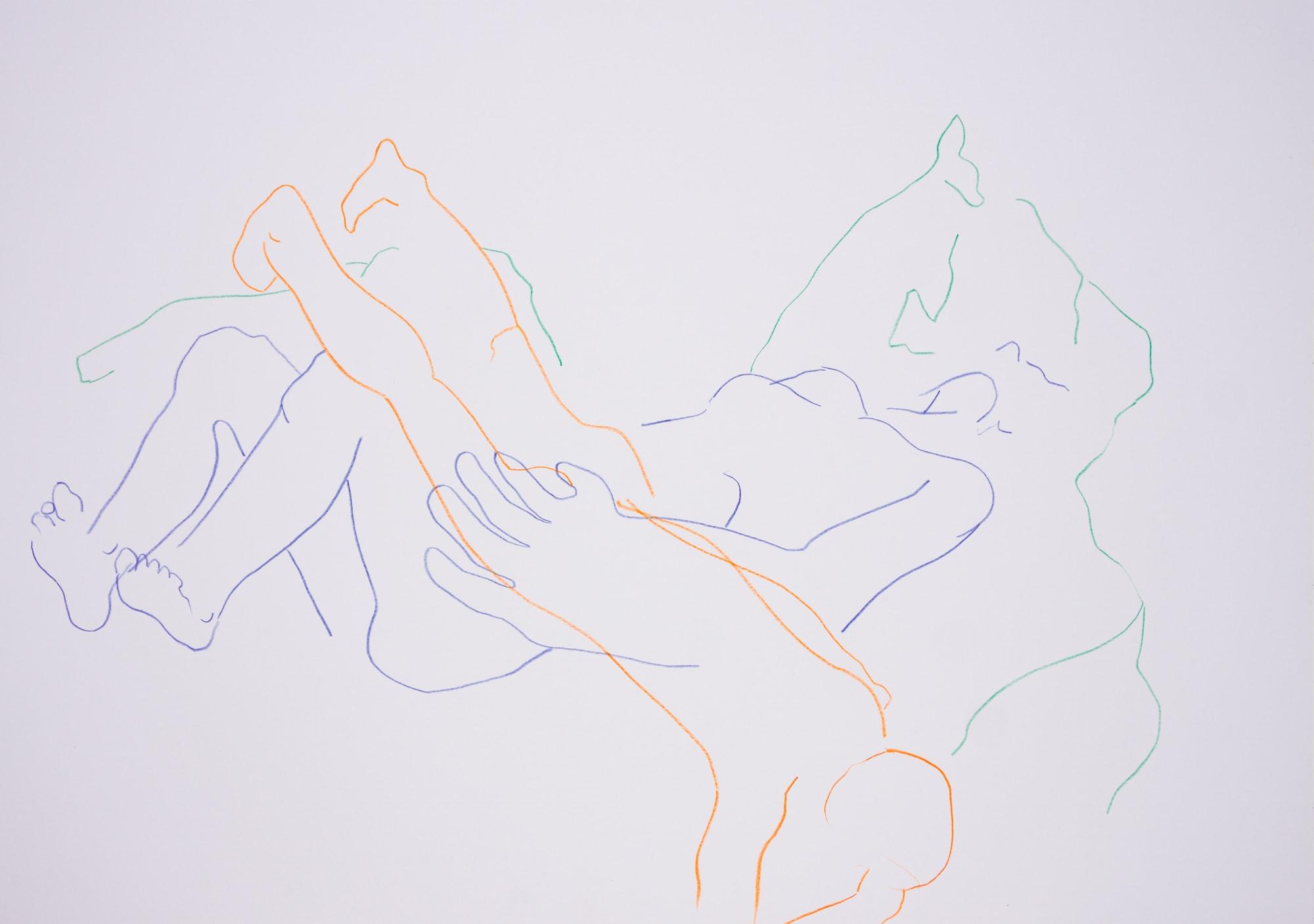 Zeichnung, Farbstift auf Papier, 59,4x42cm,Akt, Künstlerin: Franziska King