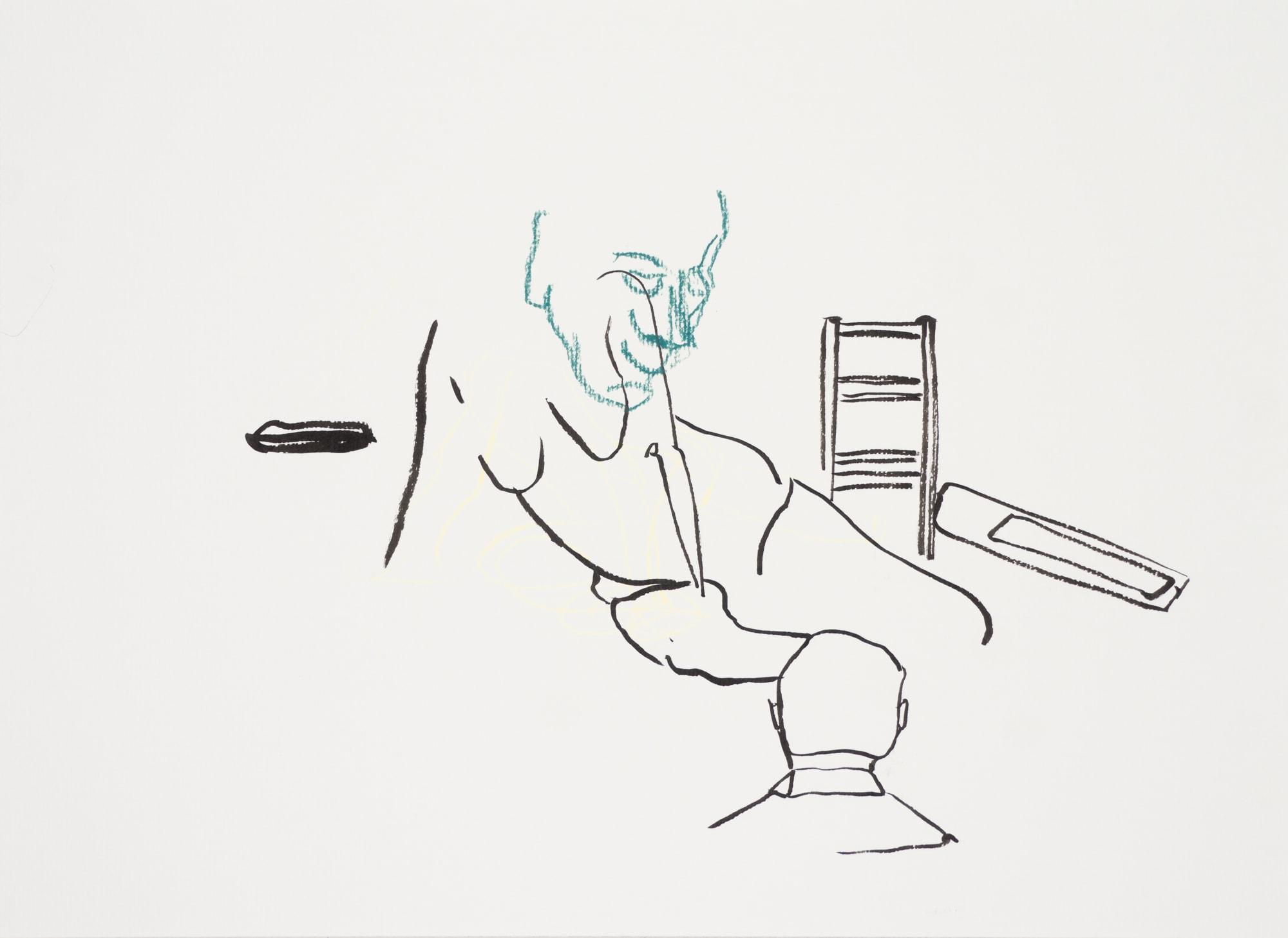 Zeichnung, Farbstift und Tusche auf Papier, 40,6x29,7cm, Akt, Künstlerin: Franziska King
