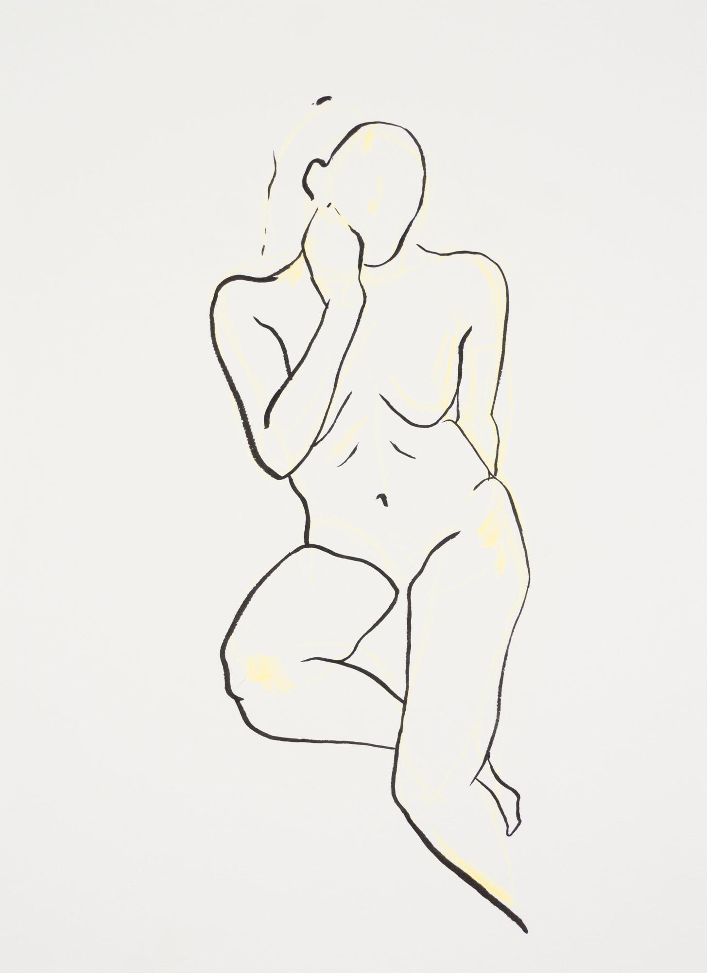 Zeichnung, Farbstift und Tusche auf Papier, 29,7x40,6cm, Frauenakt, Künstlerin: Franziska King