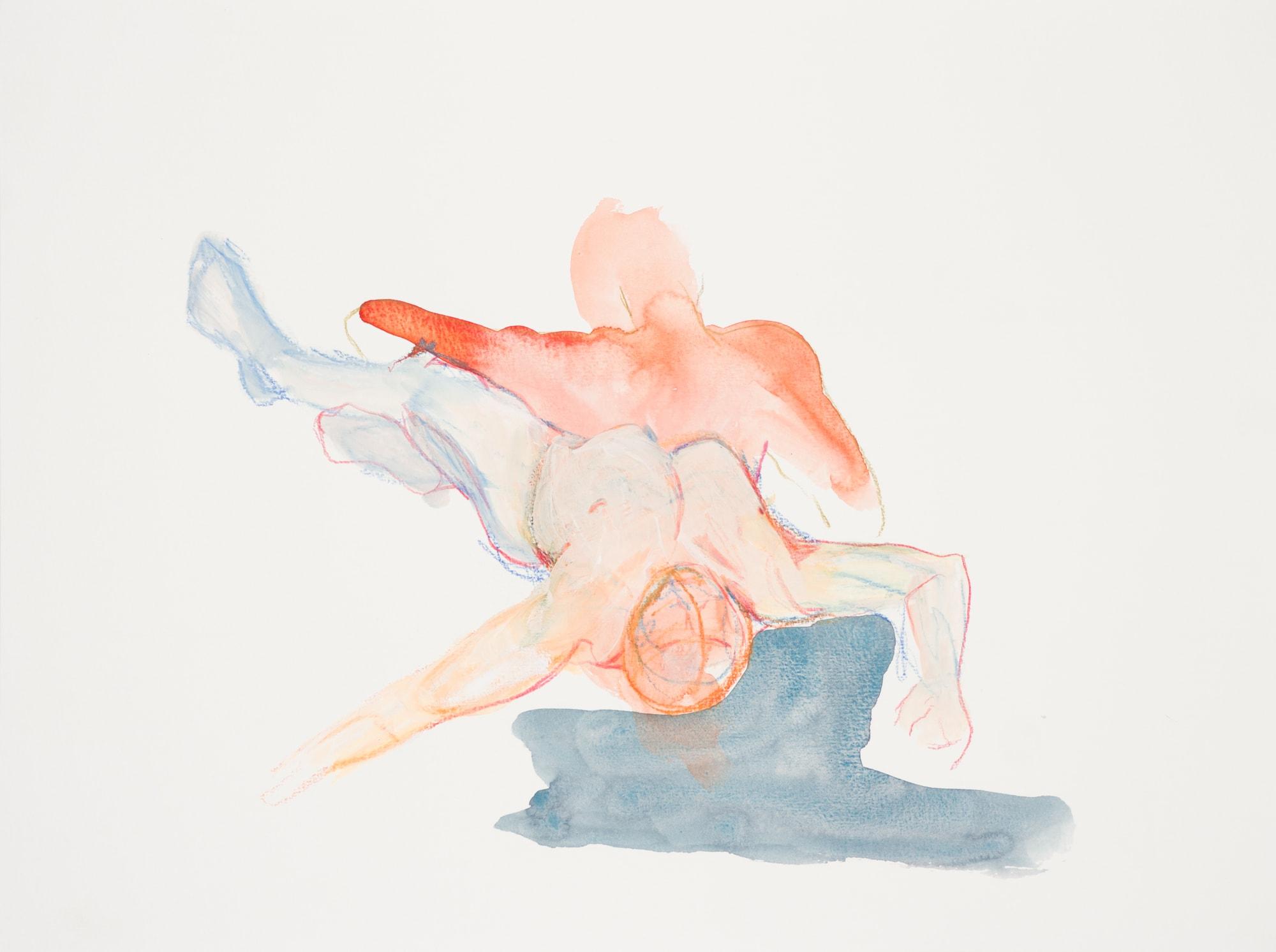 Zeichnung, Aquarell und Farbstift auf Papier, 40x30cm, Akt, Künstlerin: Franziska King