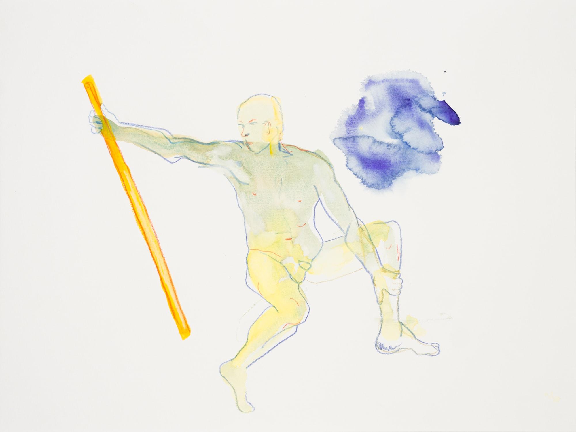 Zeichnung, Aquarell und Farbstift auf Papier, 40x30cm, Männerakt, Künstlerin: Franziska King