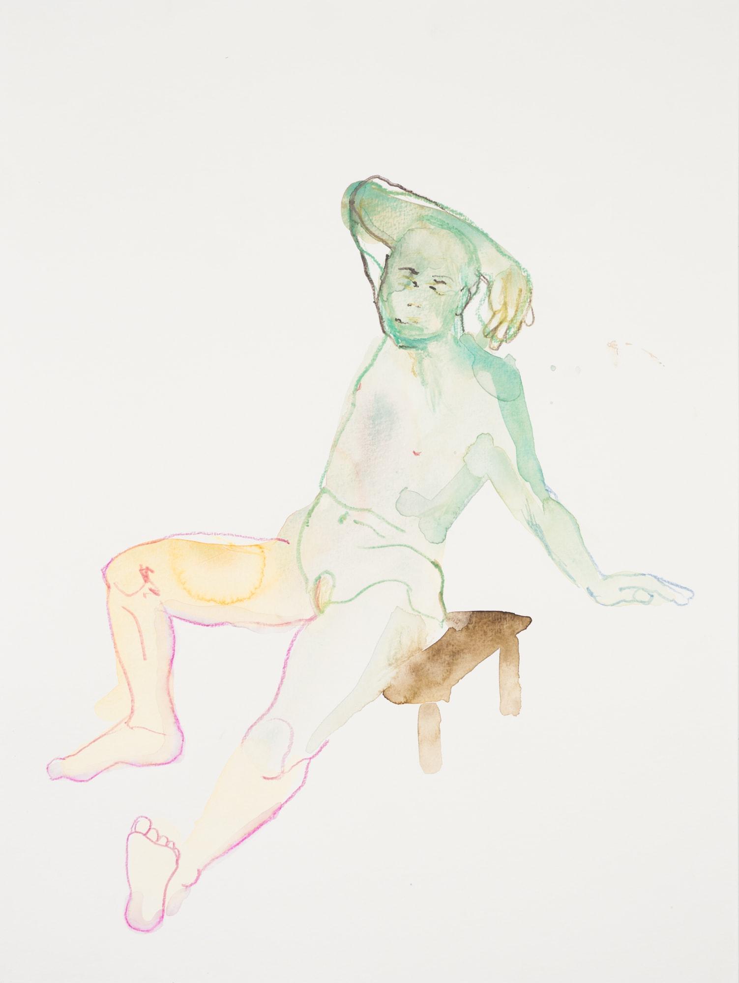 Zeichnung, Aquarell und Farbstift auf Papier, 30x40cm,Männerakt, Künstlerin: Franziska King