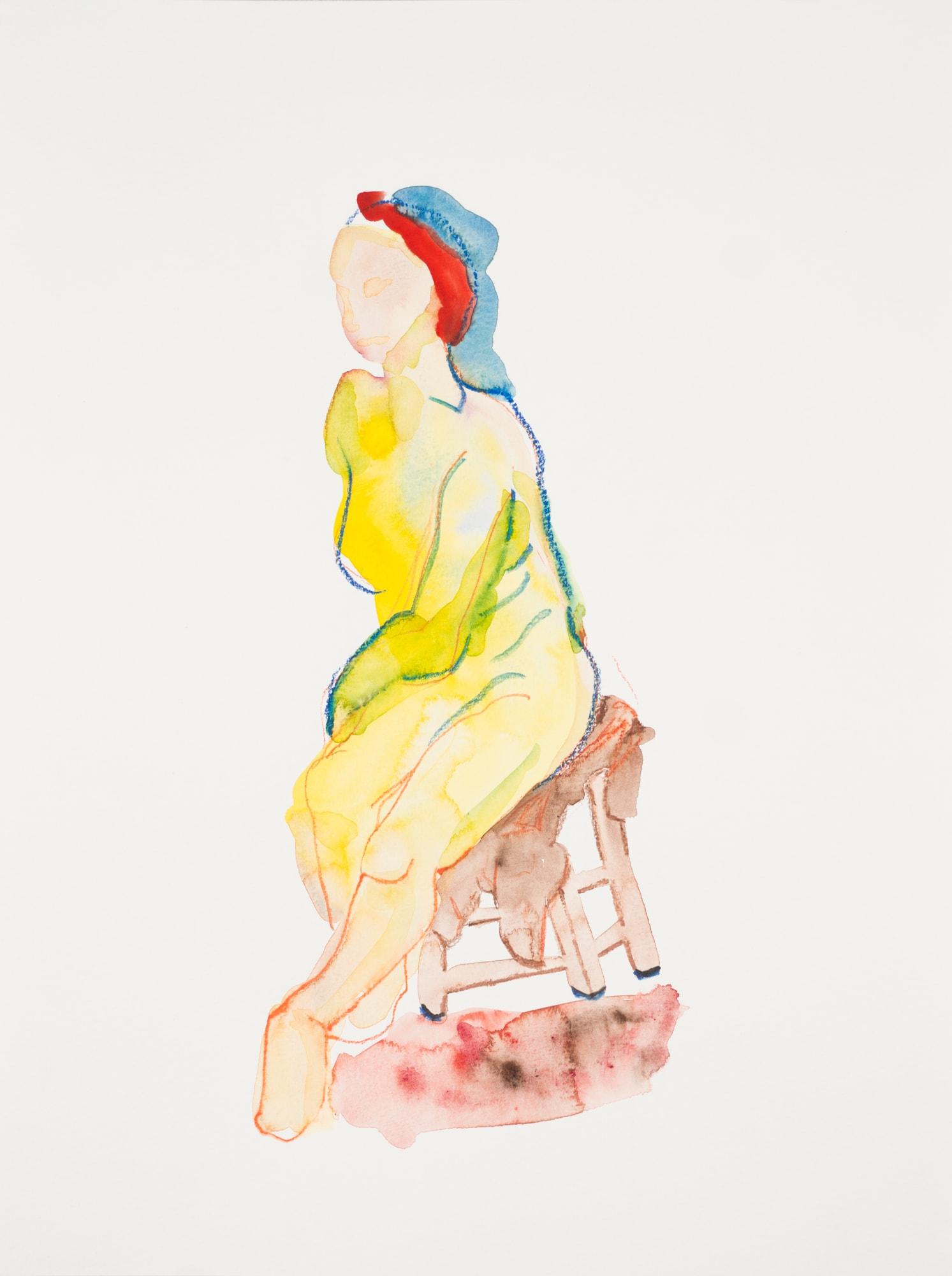 Zeichnung,Aquarell und Farbstift auf Papier, 30x40cm, Frauenakt, Künstlerin: Franziska King