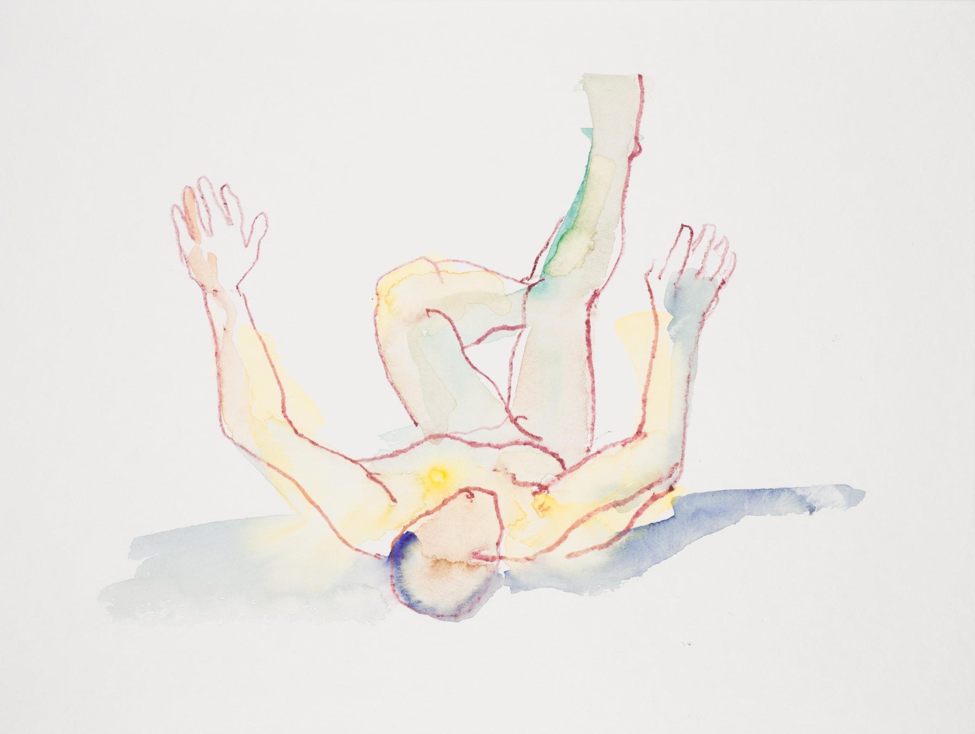 Zeichnung, Aquarell und Farbstift auf Papier, 32x24cm, Männerakt, Künstlerin: Franziska King