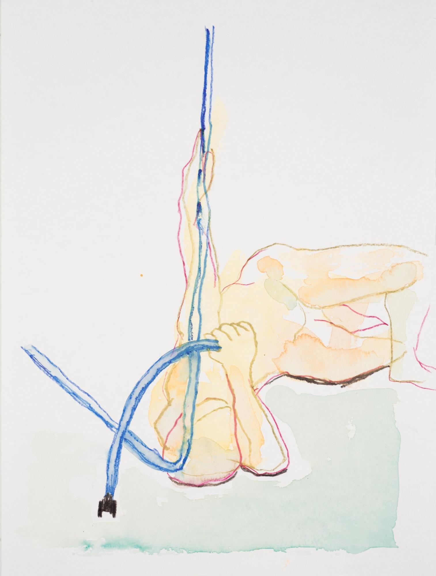 Zeichnung, Aquarell und Farbstift auf Papier, 24x32cm, Männerakt, Künstlerin: Franziska King