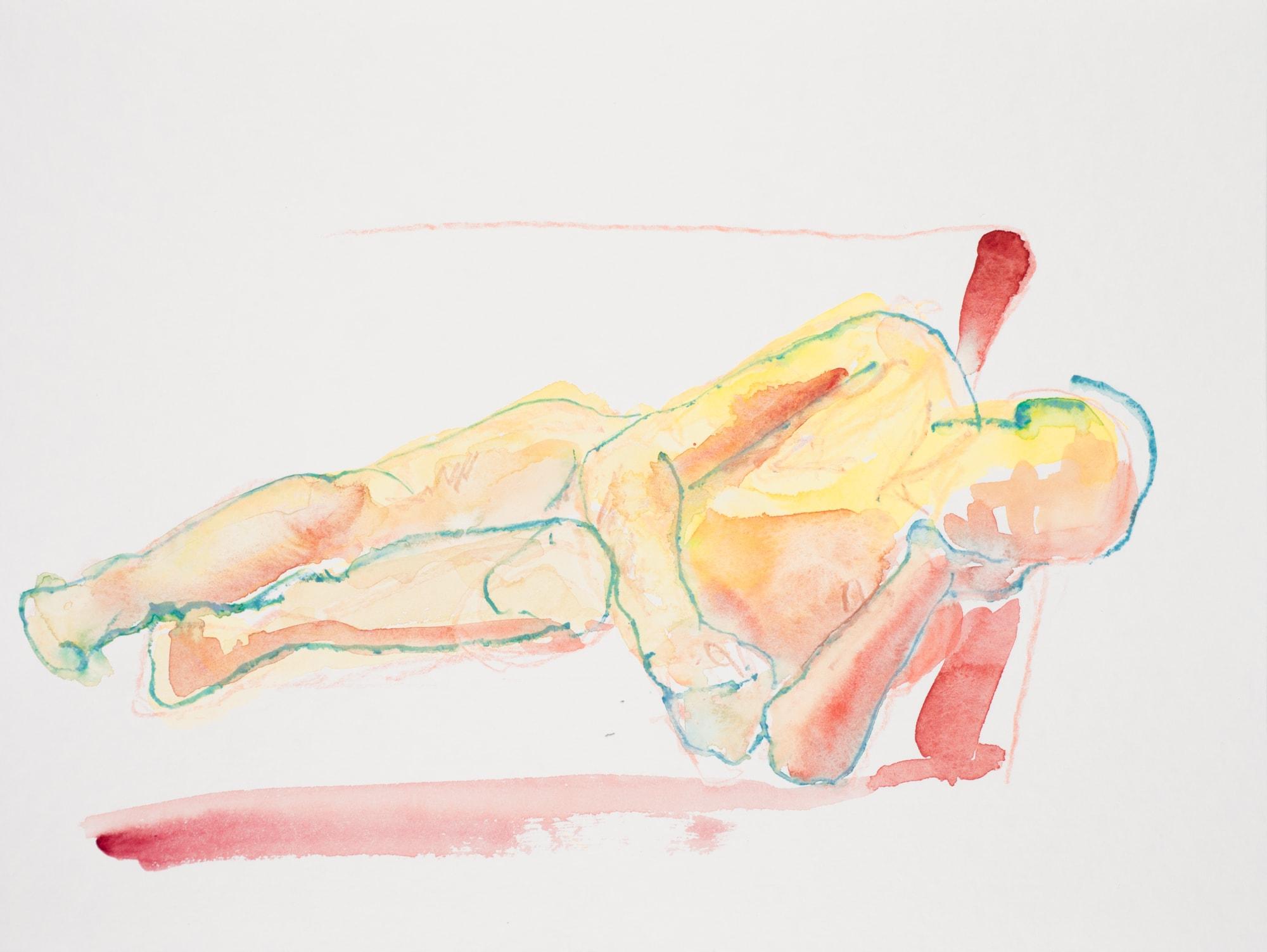 Zeichnung, Aquarell und Farbstift auf Papier, 32x24cm,Männerakt, Künstlerin: Franziska King
