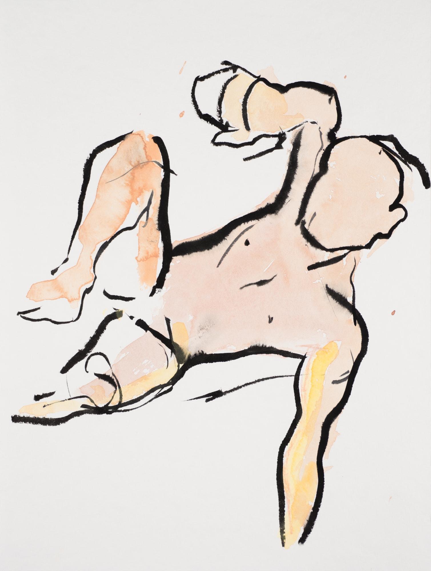 Zeichnung, Aquarell und Tusche auf Papier, 24x32cm, Männerakt, Künstlerin: Franziska King