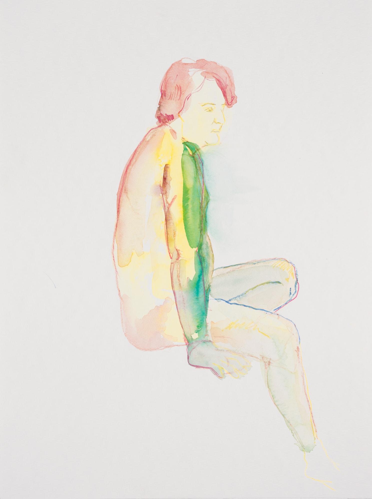 Zeichnung, Aquarell und Farbstift auf Papier, 30x40cm, Männerakt, Künstlerin: Franziska King