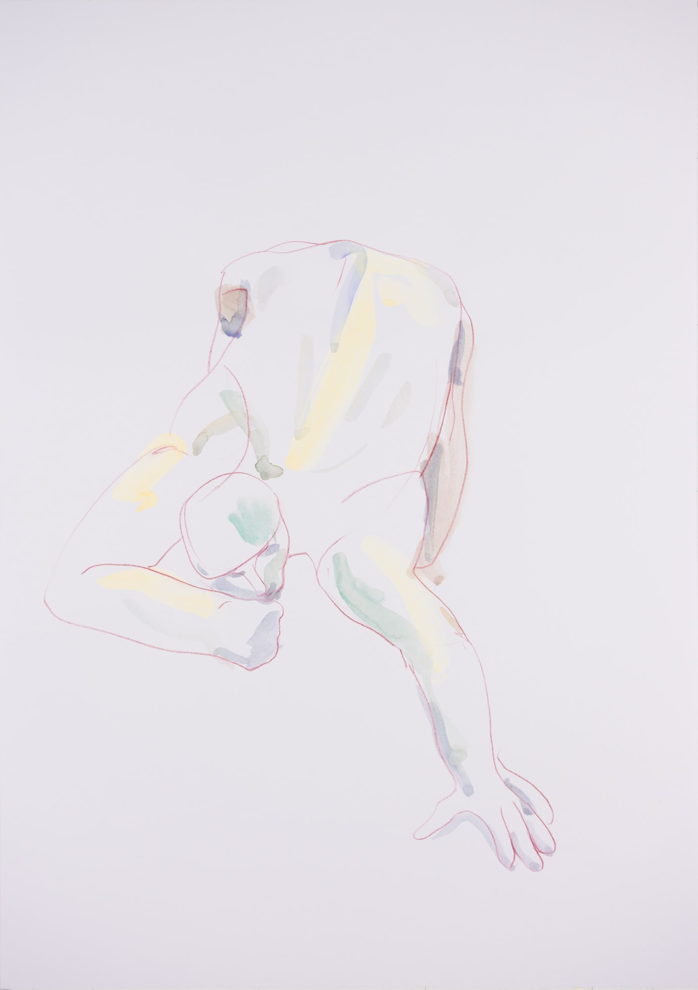 Zeichnung, Aquarell und Farbstift auf Papier, 42x59,4cm, Männerakt, Künstlerin: Franziska King