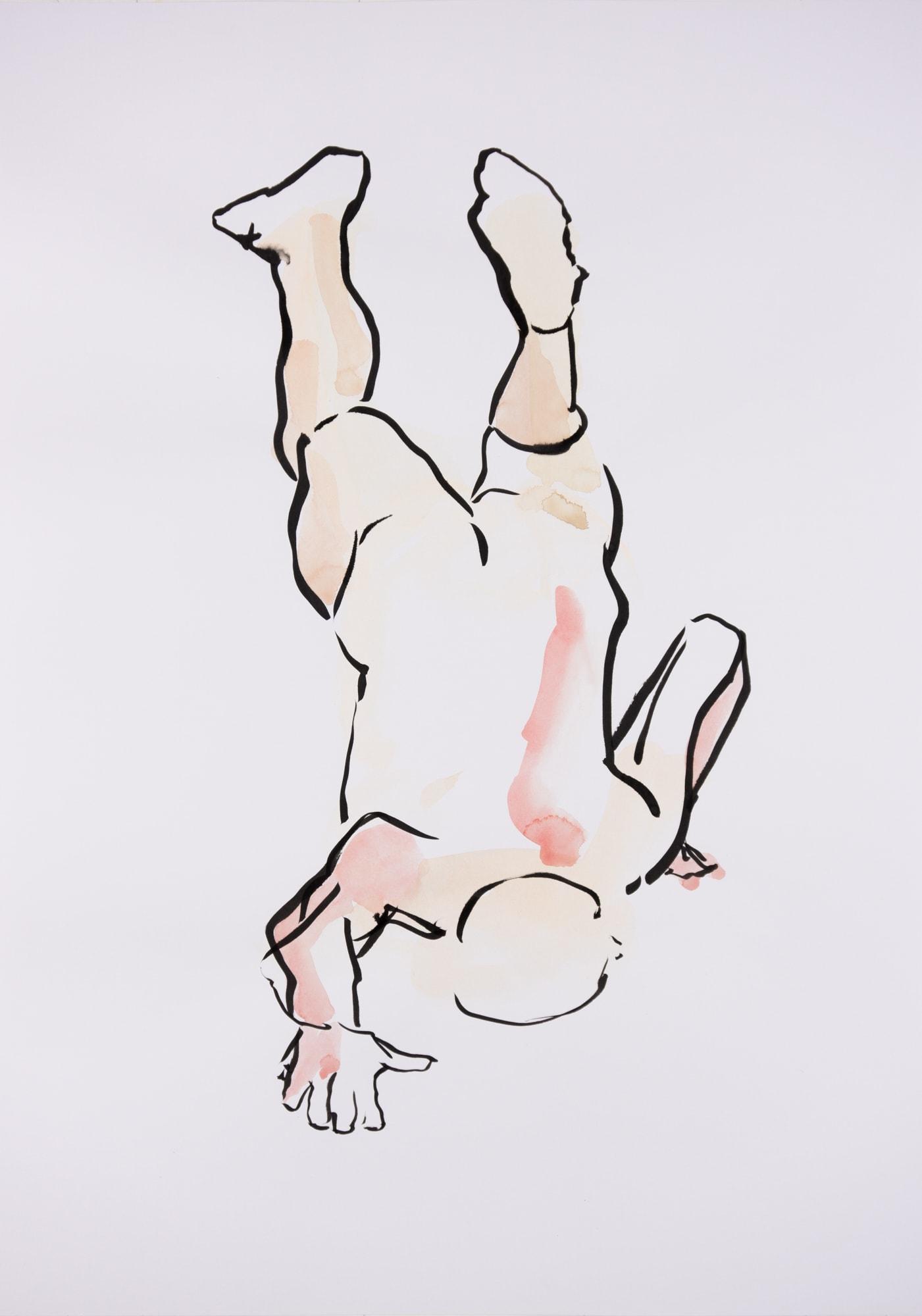 Zeichnung, Aquarell und Tusche auf Papier, 42x59,4cm, Männerakt, Künstlerin: Franziska King