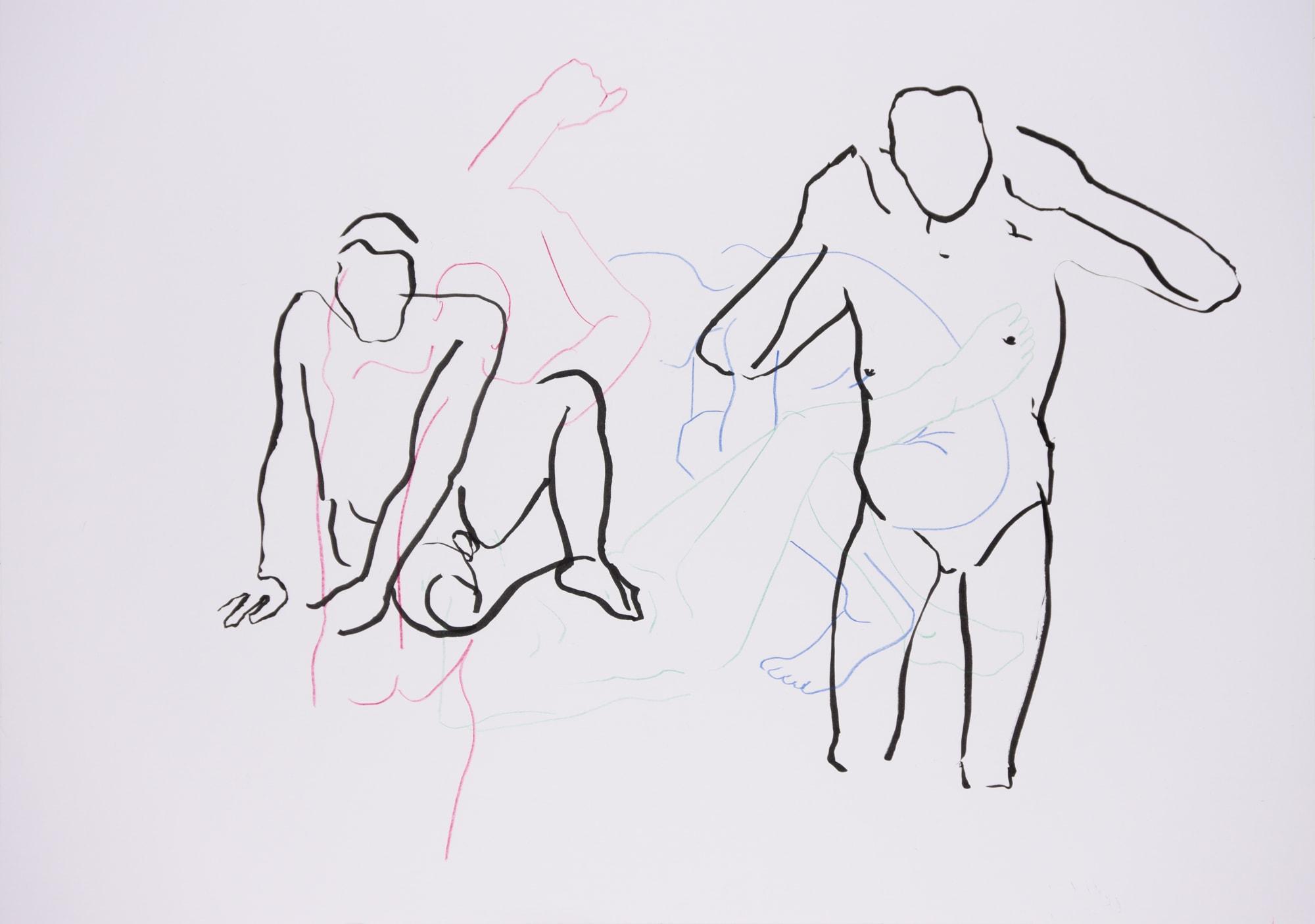 Zeichnung, Farbstift und Tusche auf Papier, 59,4x42cm, Männerakt, Künstlerin: Franziska King