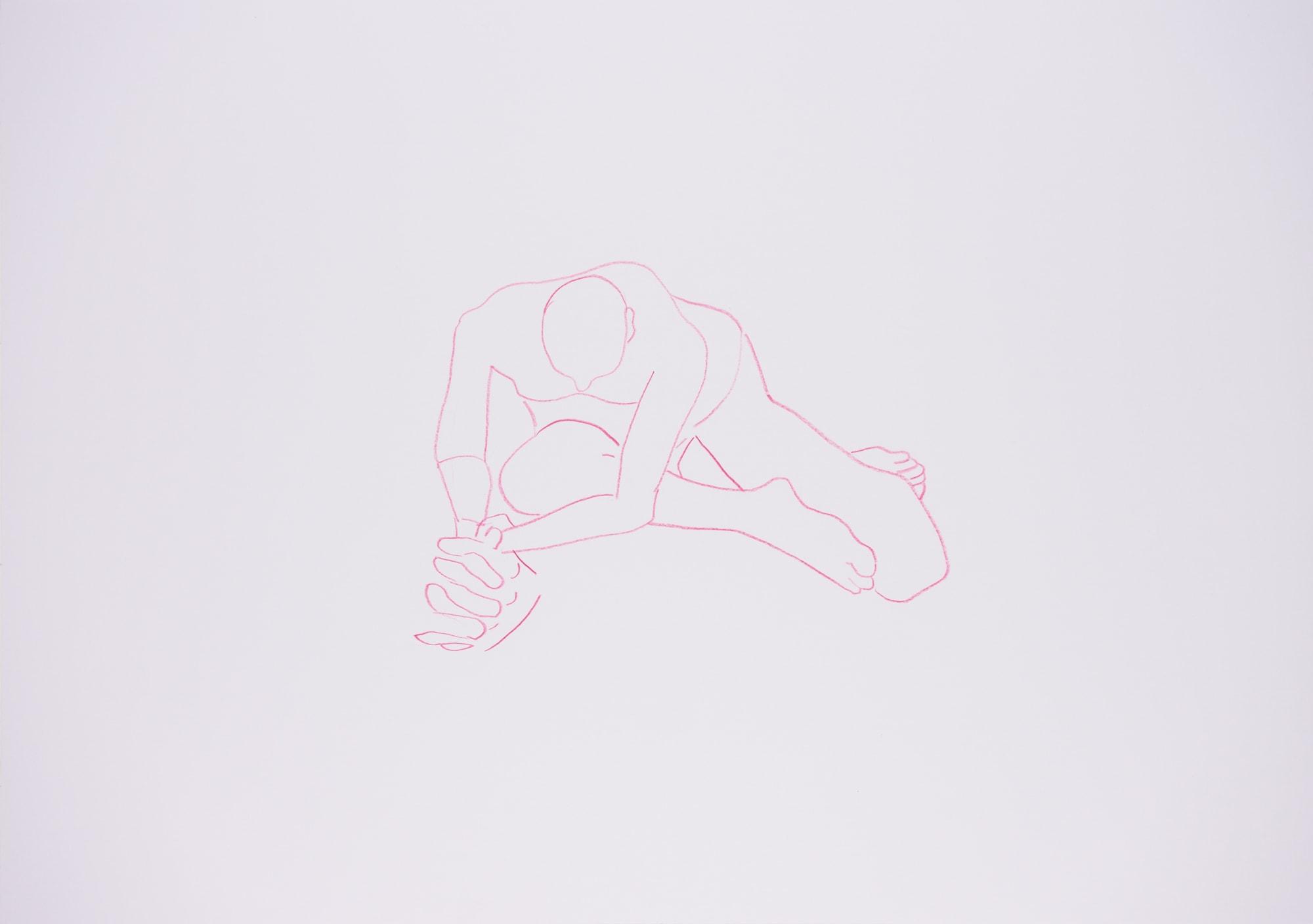 Zeichnung, Farbstift auf Papier, 59,4x420cm,Männerakt, Künstlerin: Franziska King