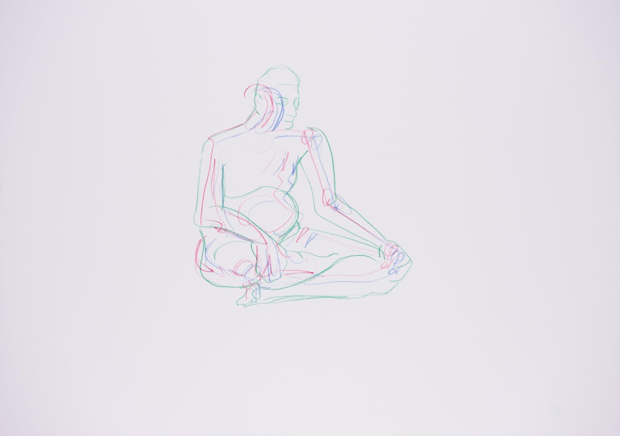Zeichnung, Farbstifte auf Papier, 59,4x42cm, Männerakt, Künstlerin: Franziska King