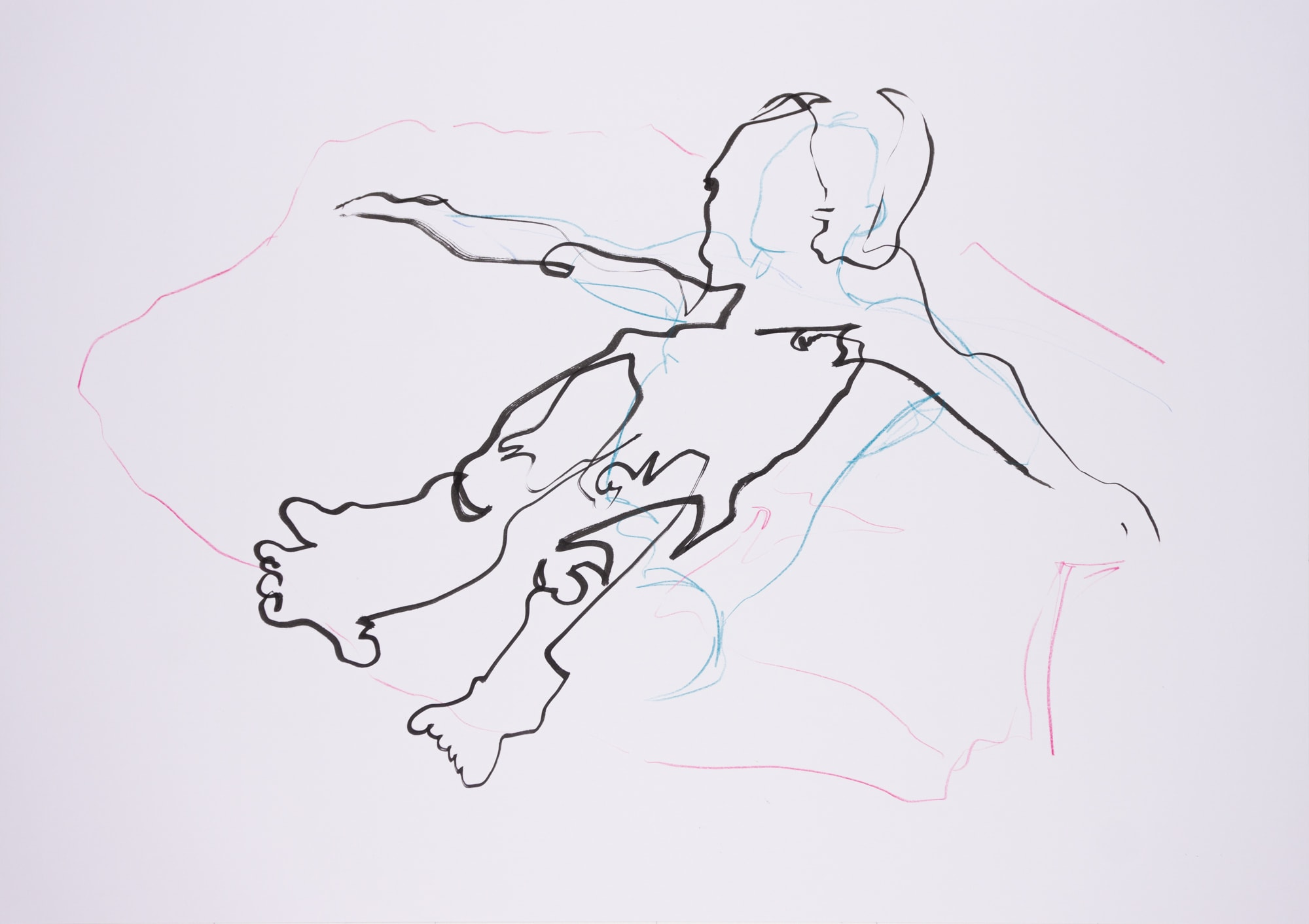 Zeichnung, Farbstift und Tusche auf Papier,59,4x42cm, Akt, Künstlerin: Franziska King