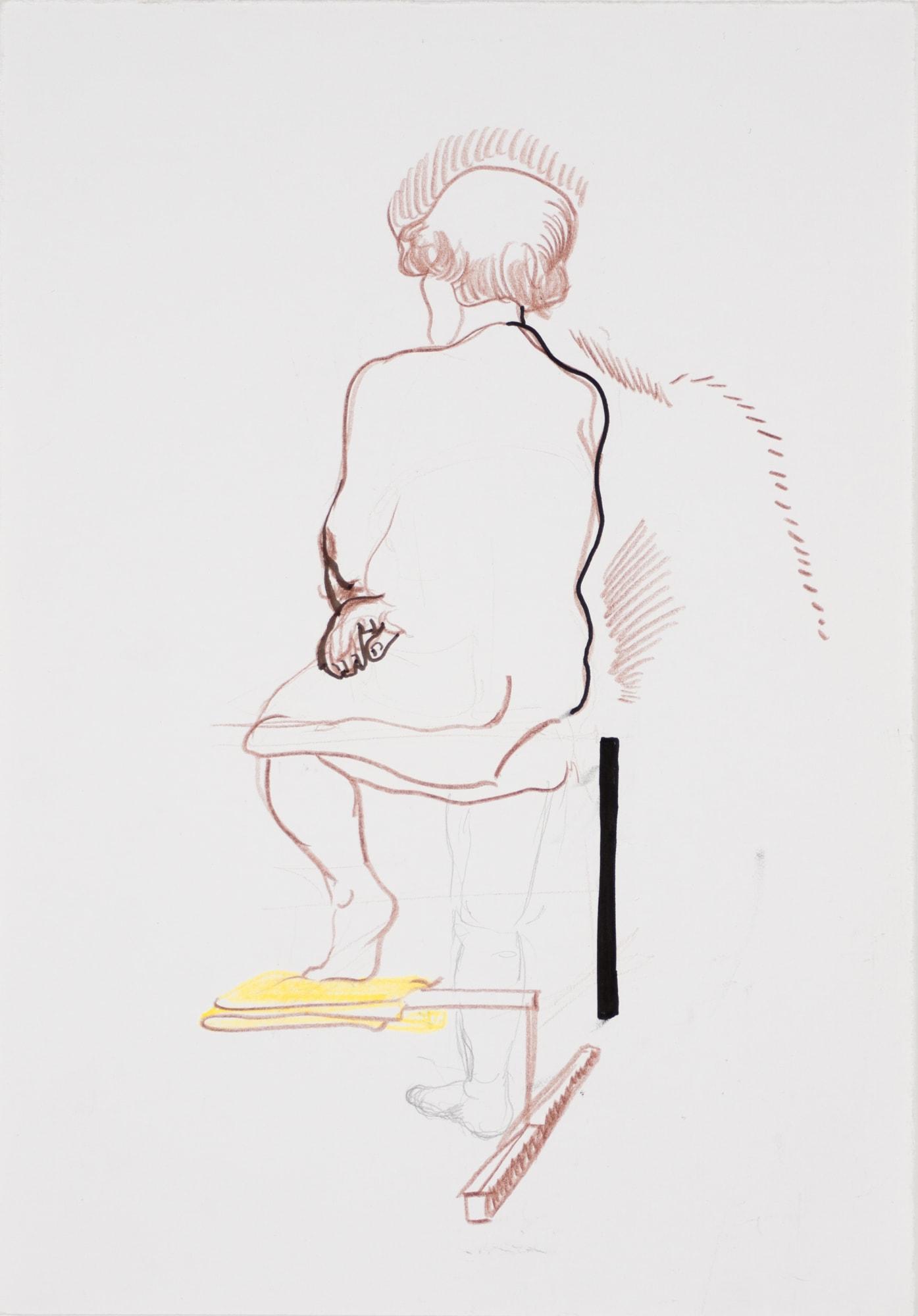 Zeichnung, Farbstift und Tusche auf Papier, 30x40cm, Akt, Künstlerin: Franziska King