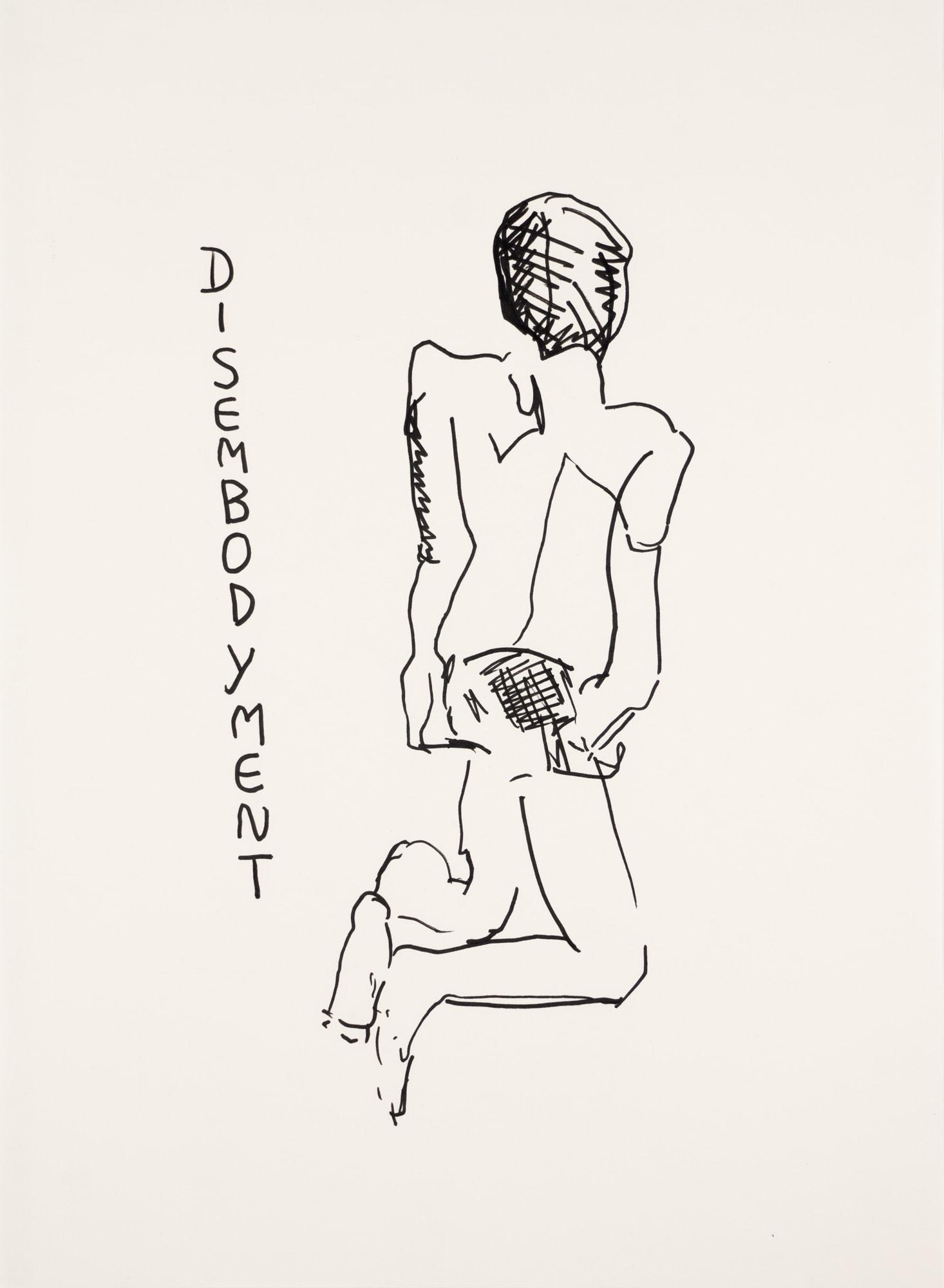 Zeichnung, Tusche auf Papier, 29,8x40,6cm, männlicher Akt, Künstlerin: Franziska King
