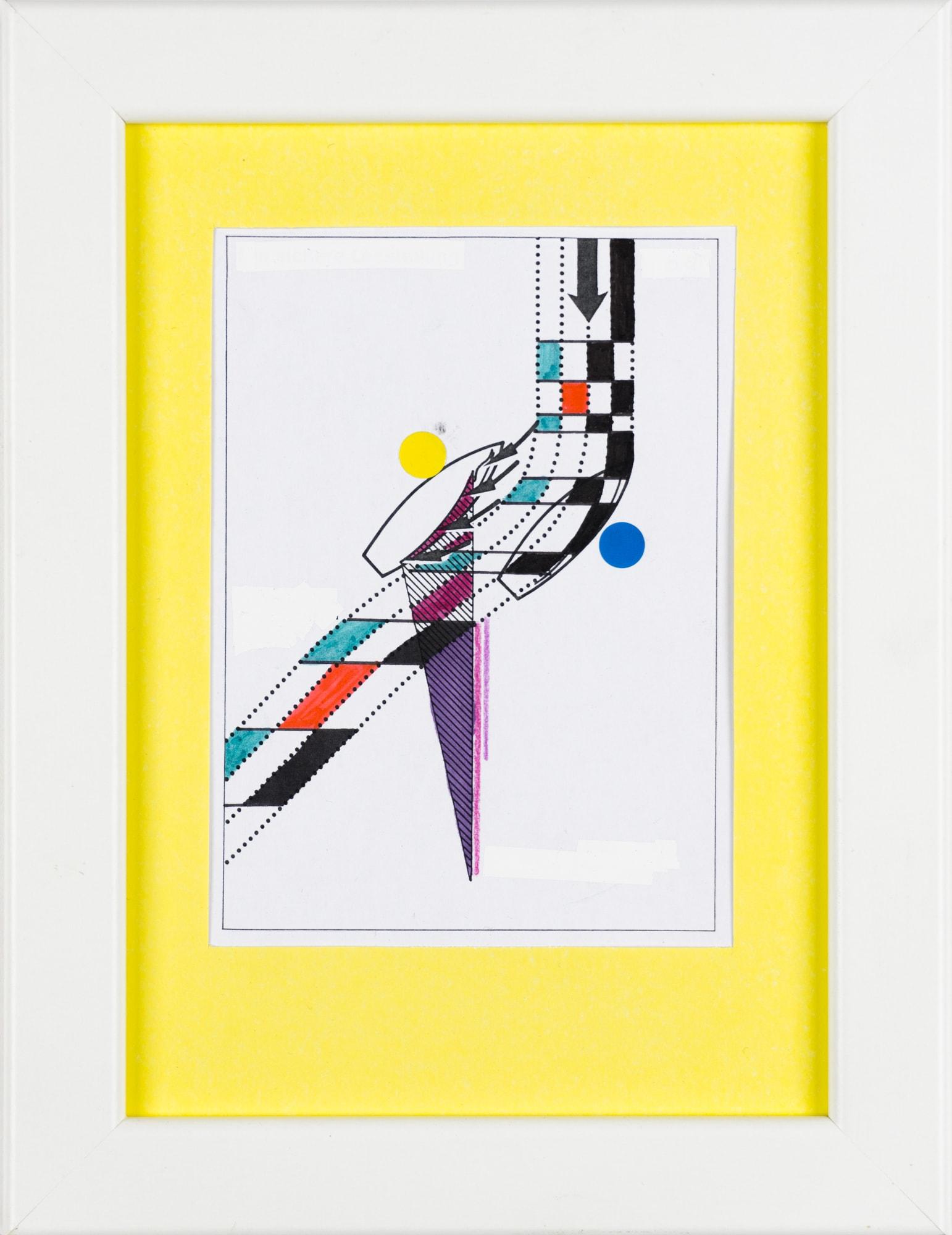 Übermalung und Mischtechnik auf Papier, 9x12,4cm, Originalgrafik zum gleichnamigen Booklet, Künstlerin: Franziska King