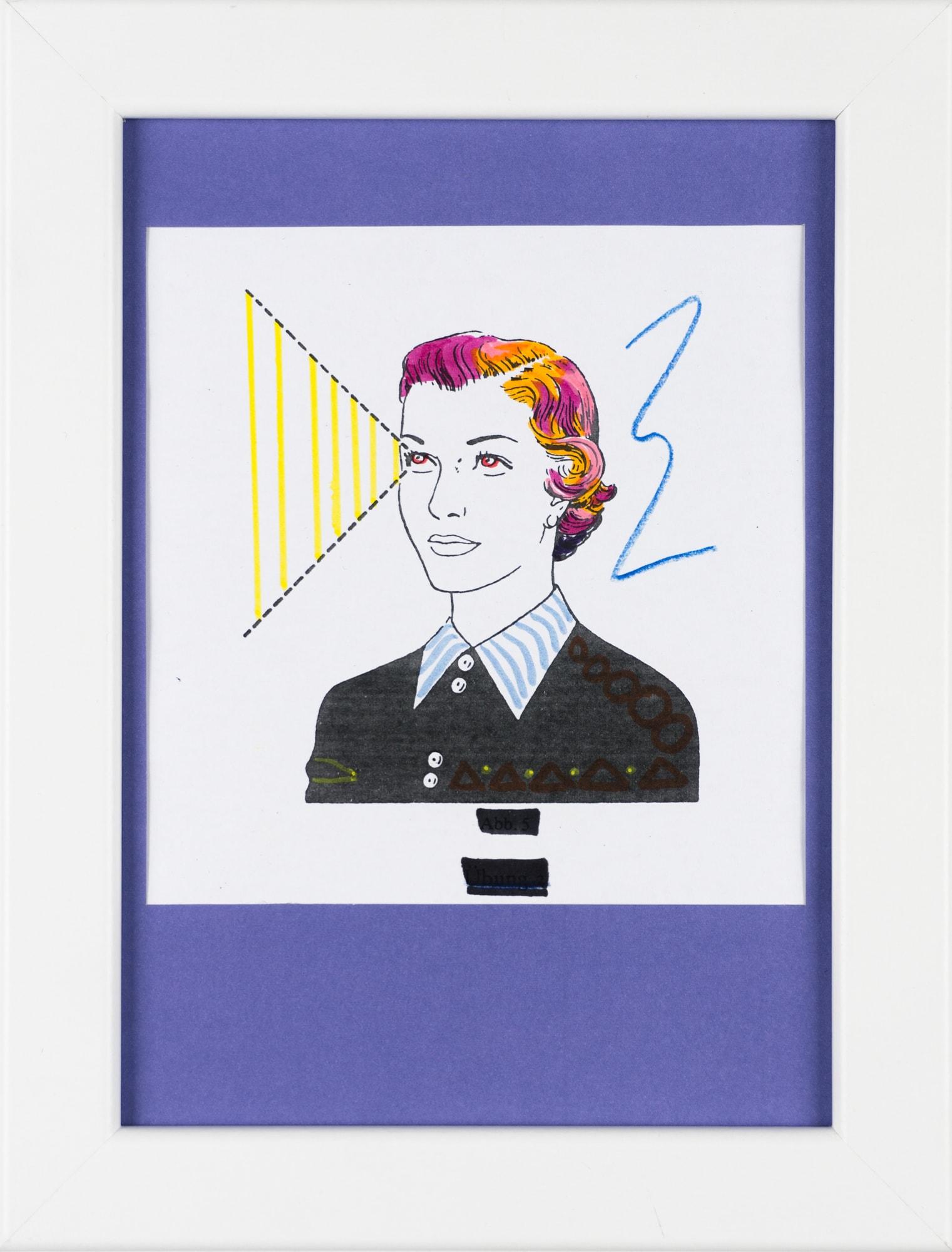 Übermalung und Mischtechnik auf Papier, 11,1x11,5cm, Originalgrafik zum gleichnamigen Booklet, Künstlerin: Franziska King
