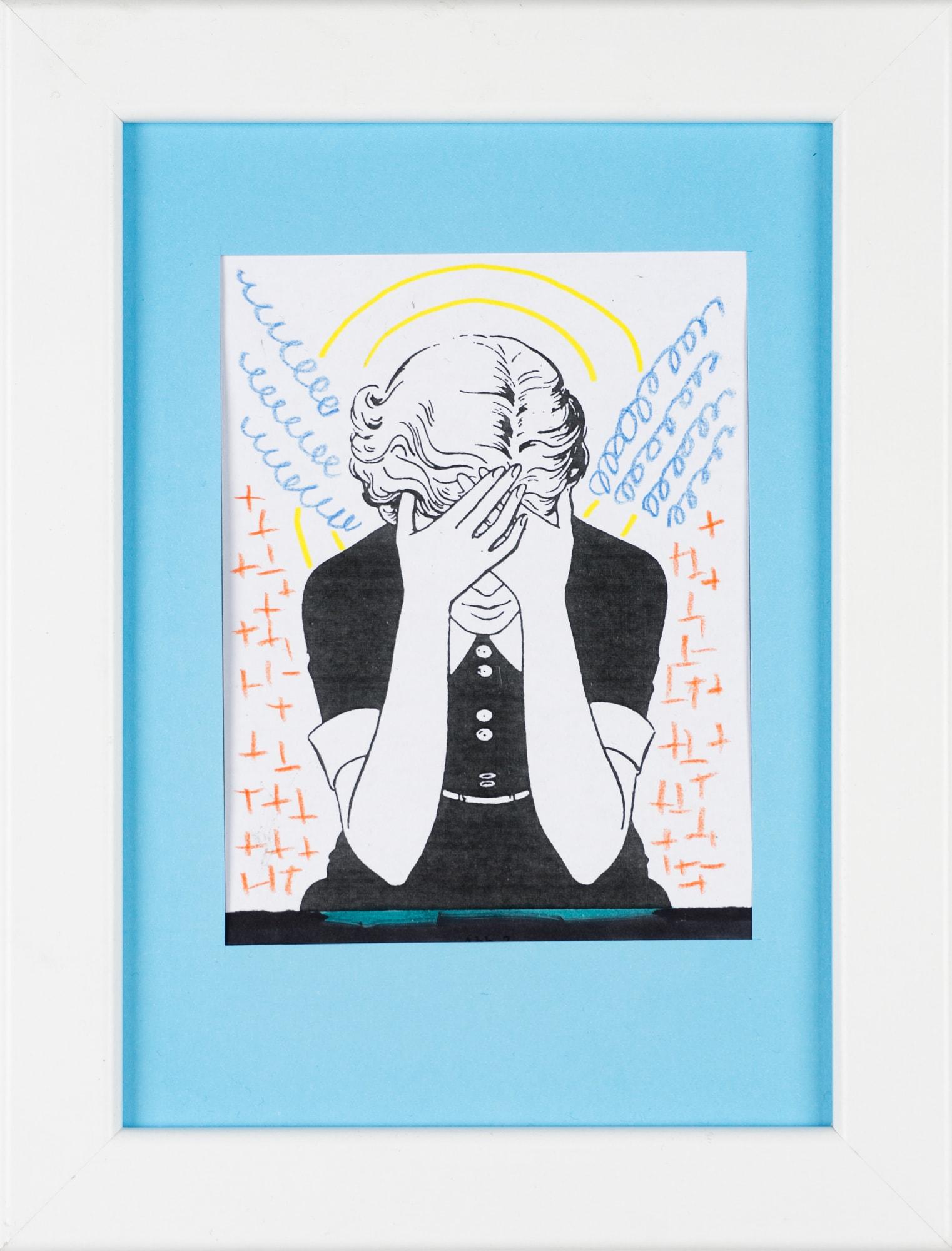 Übermalung und Mischtechnik auf Papier, 8,9x11,7cm, Originalgrafik zum gleichnamigen Booklet, Künstlerin: Franziska King